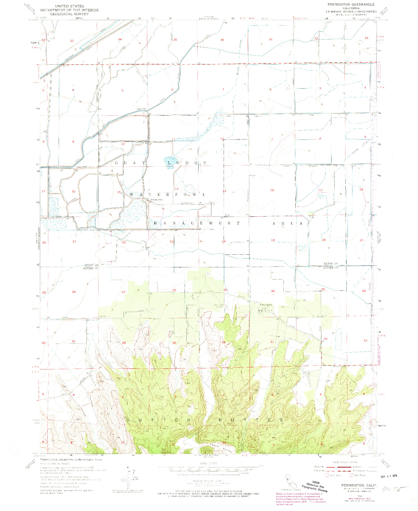 USGS 1:24000-SCALE QUADRANGLE FOR PENNINGTON, CA 1954