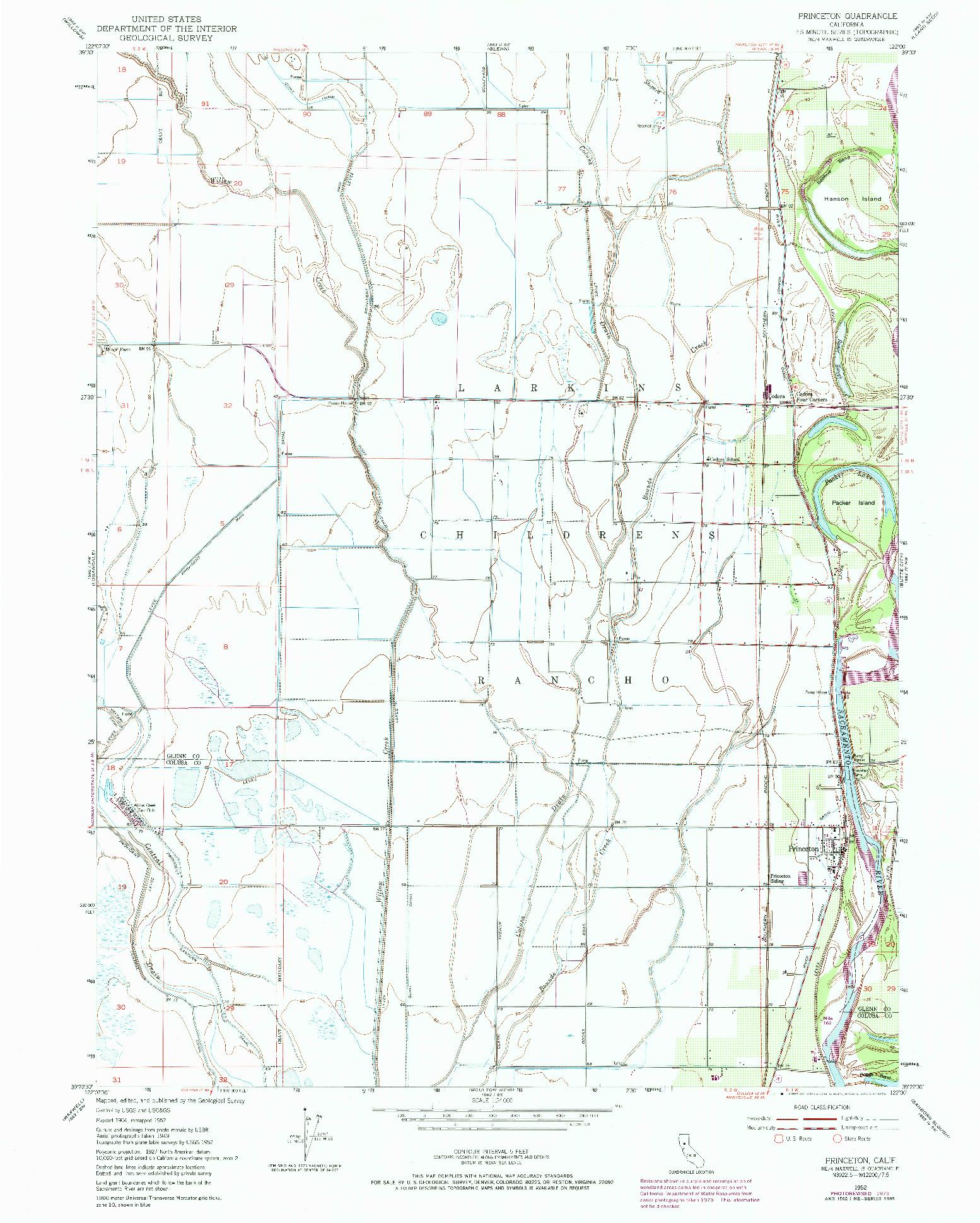 USGS 1:24000-SCALE QUADRANGLE FOR PRINCETON, CA 1952
