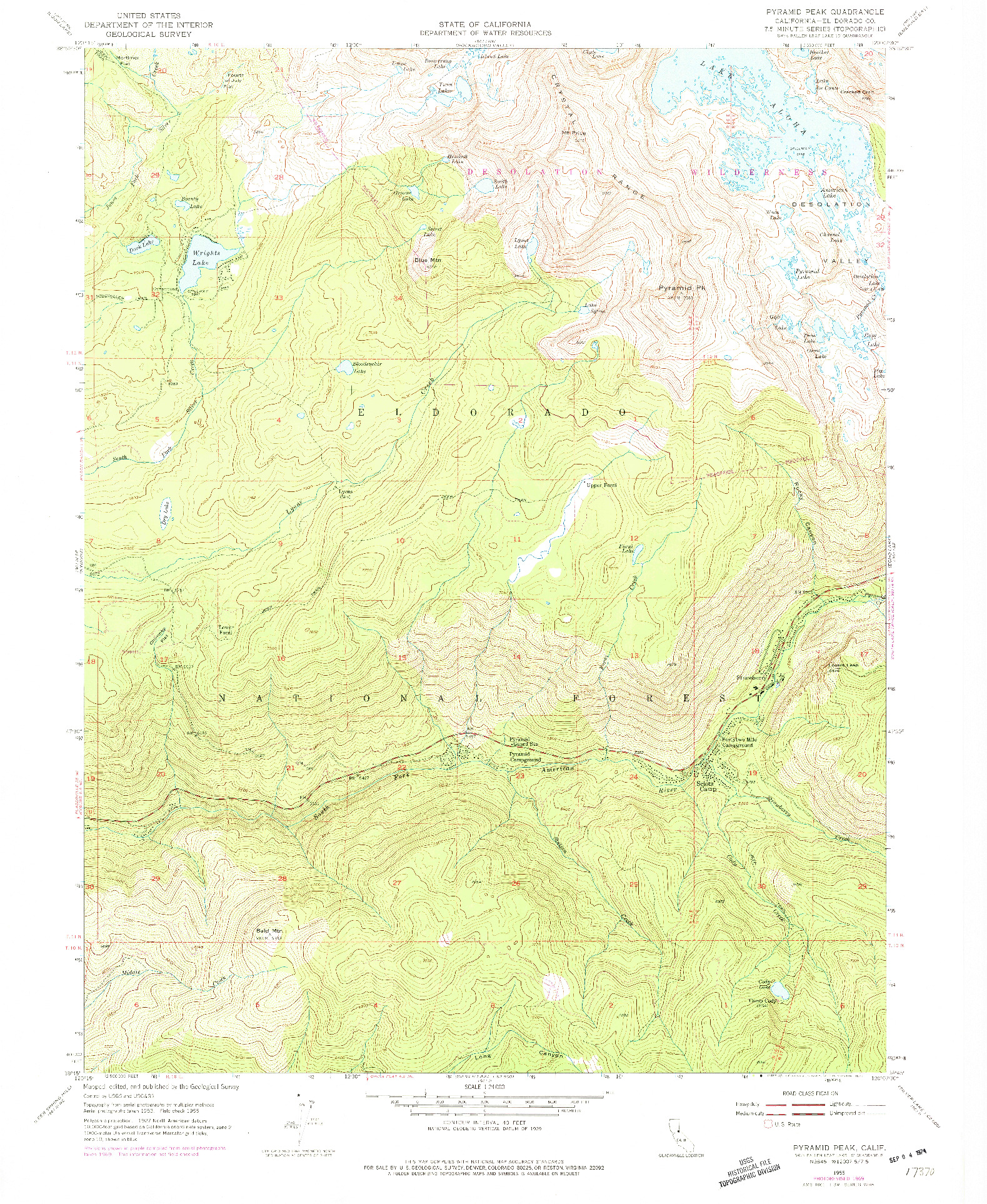 USGS 1:24000-SCALE QUADRANGLE FOR PYRAMID PEAK, CA 1955