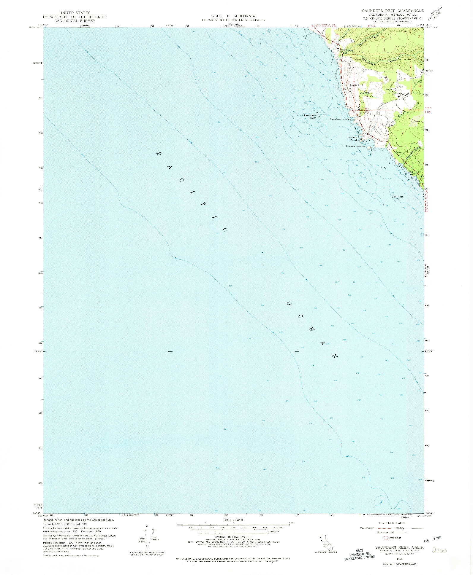 USGS 1:24000-SCALE QUADRANGLE FOR SAUNDERS REEF, CA 1960