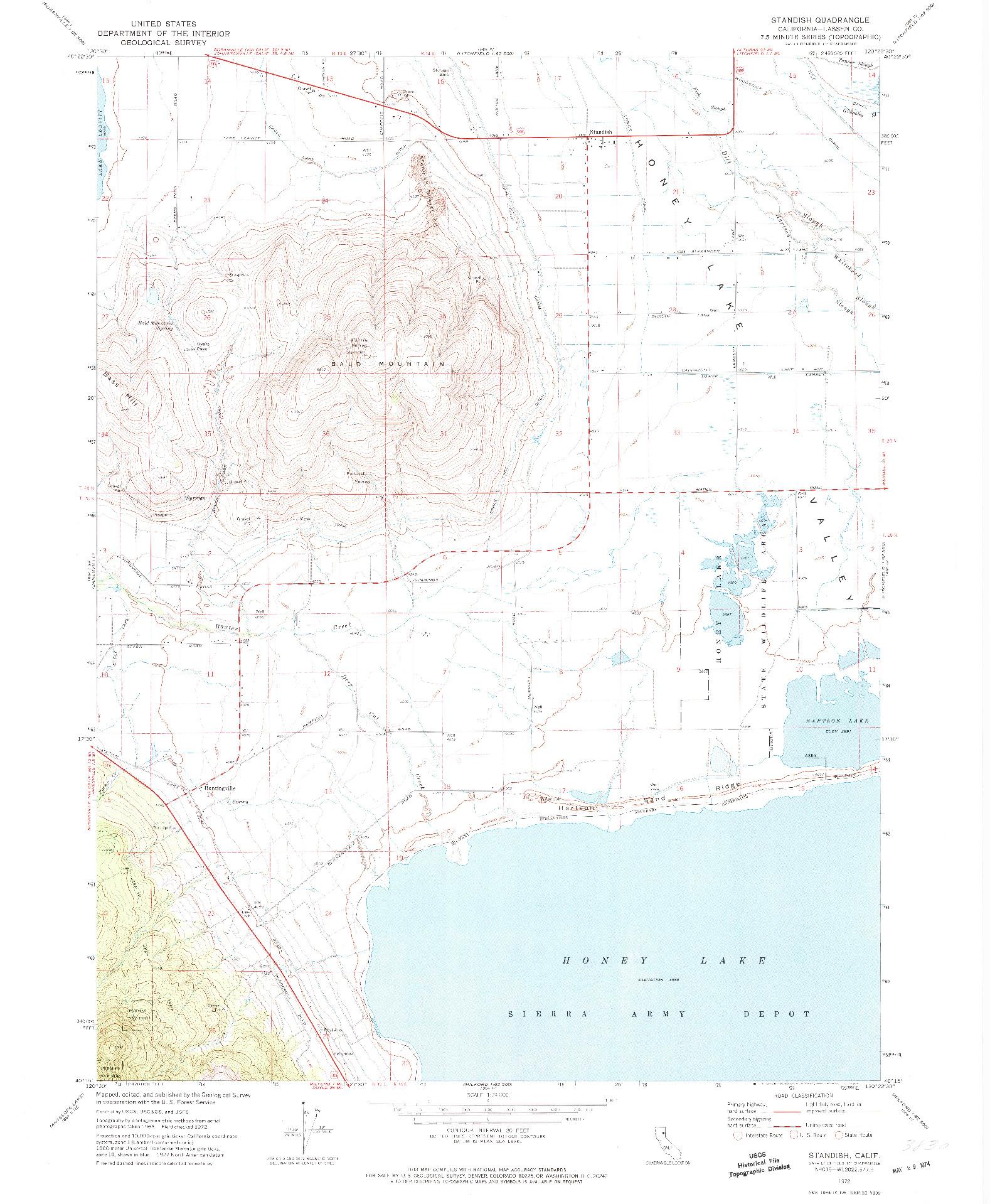 USGS 1:24000-SCALE QUADRANGLE FOR STANDISH, CA 1972