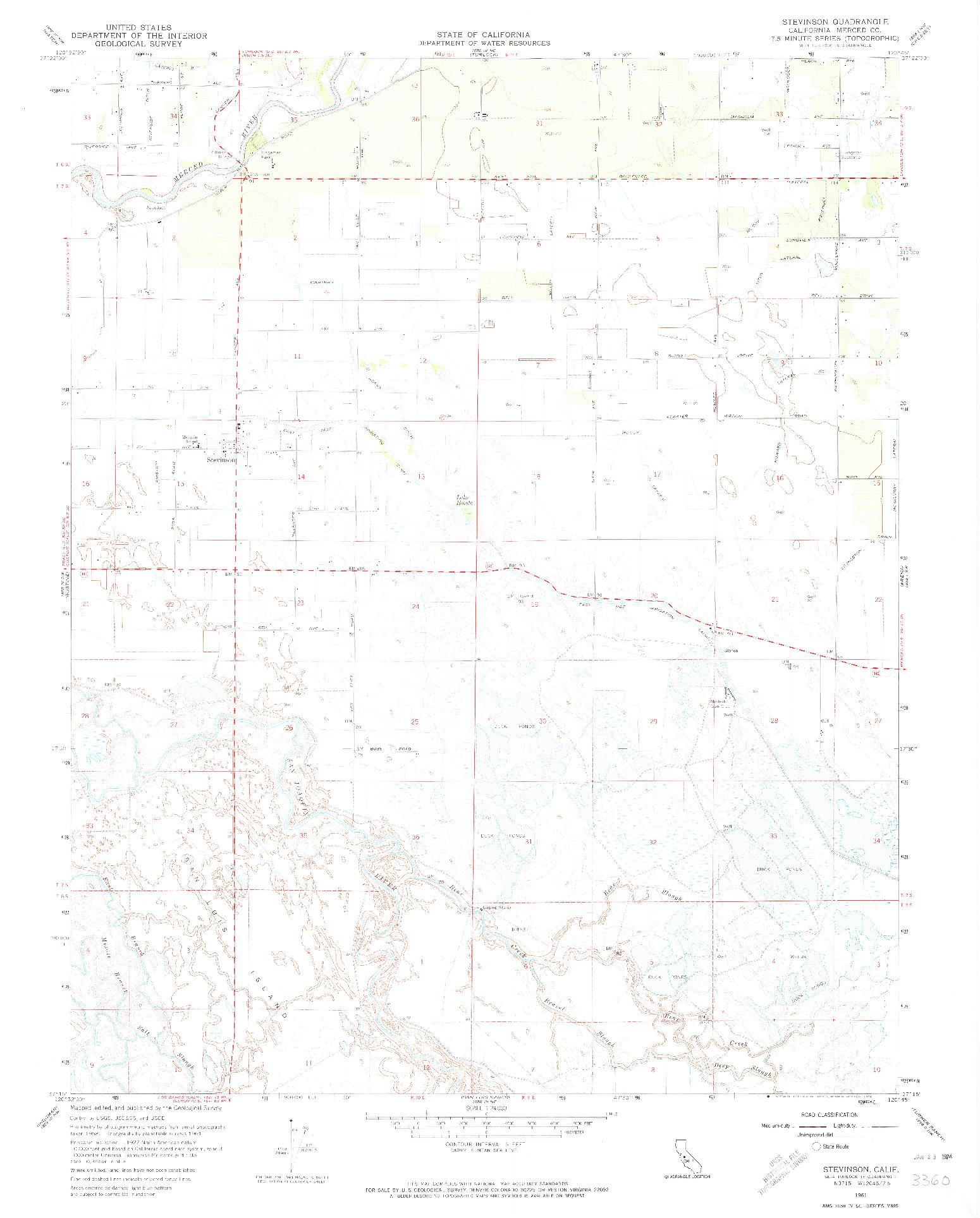 USGS 1:24000-SCALE QUADRANGLE FOR STEVINSON, CA 1961
