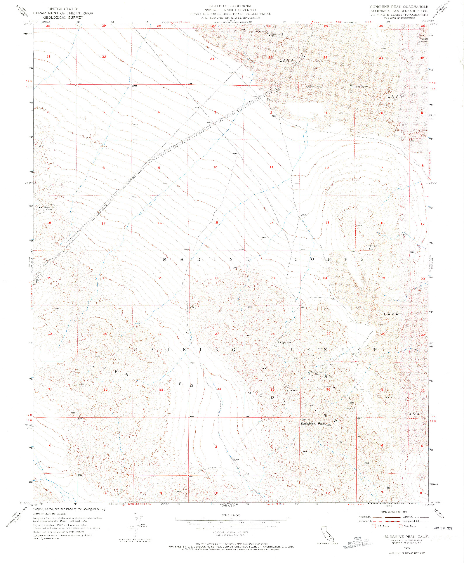 USGS 1:24000-SCALE QUADRANGLE FOR SUNSHINE PEAK, CA 1955