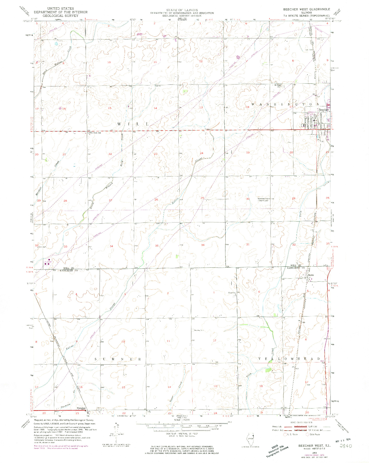 USGS 1:24000-SCALE QUADRANGLE FOR BEECHER WEST, IL 1953