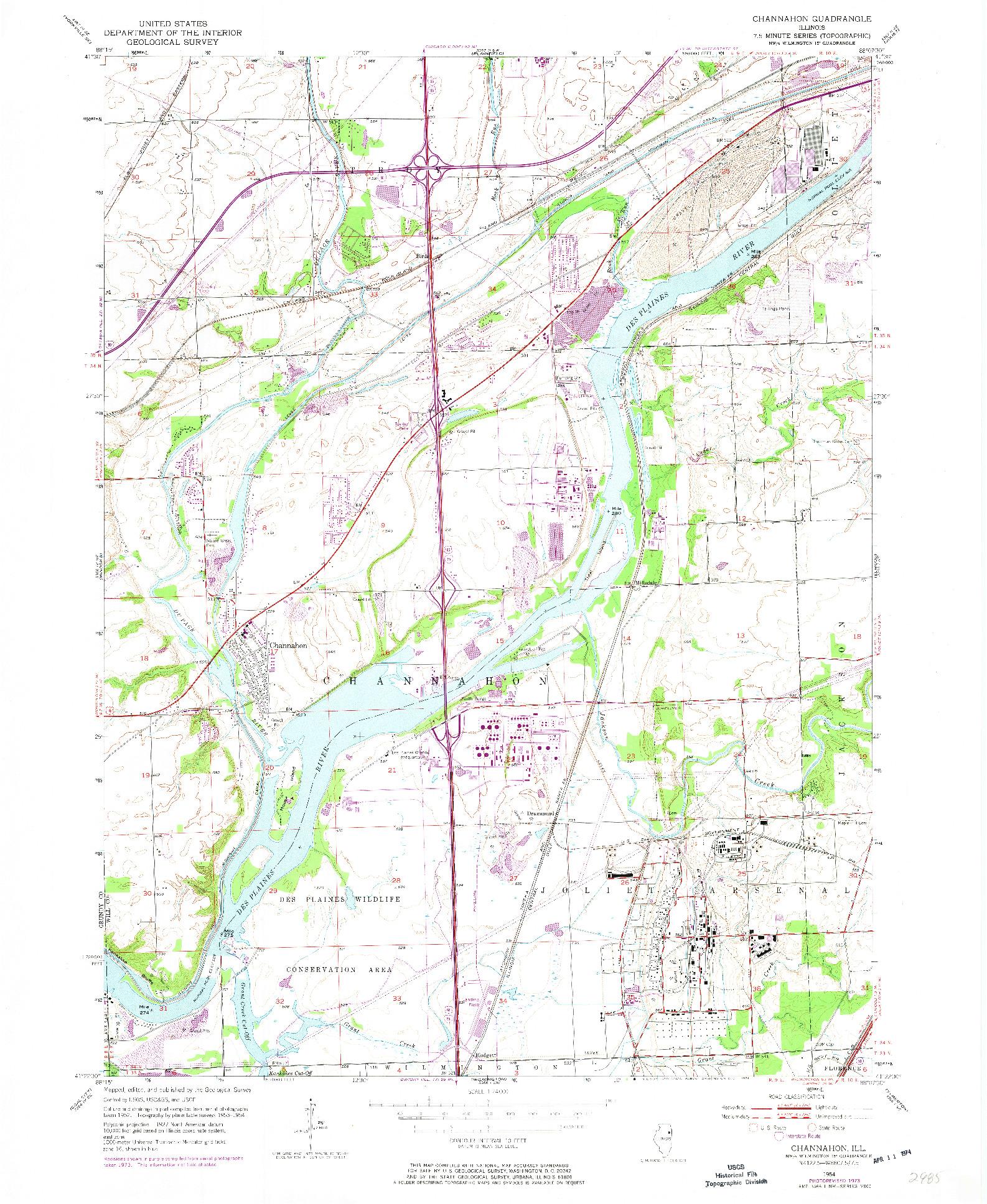 USGS 1:24000-SCALE QUADRANGLE FOR CHANNAHON, IL 1954