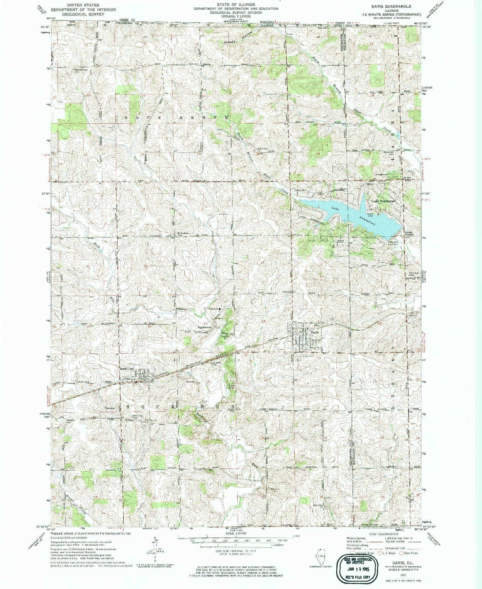 USGS 1:24000-SCALE QUADRANGLE FOR DAVIS, IL 1971