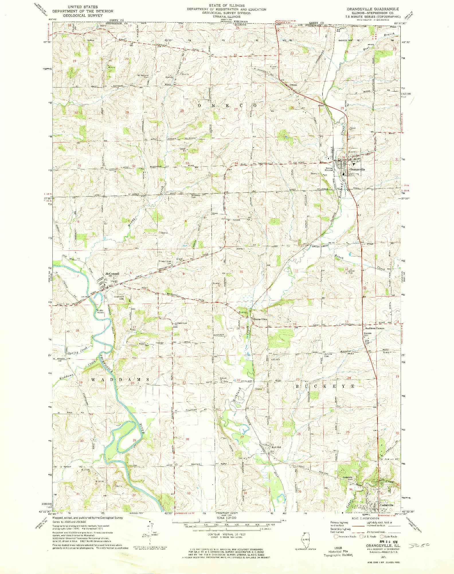 USGS 1:24000-SCALE QUADRANGLE FOR ORANGEVILLE, IL 1971