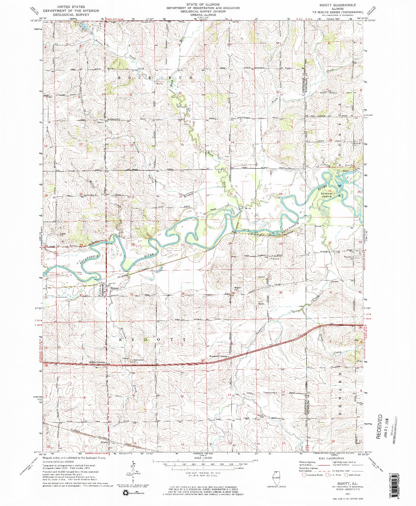 USGS 1:24000-SCALE QUADRANGLE FOR RIDOTT, IL 1971