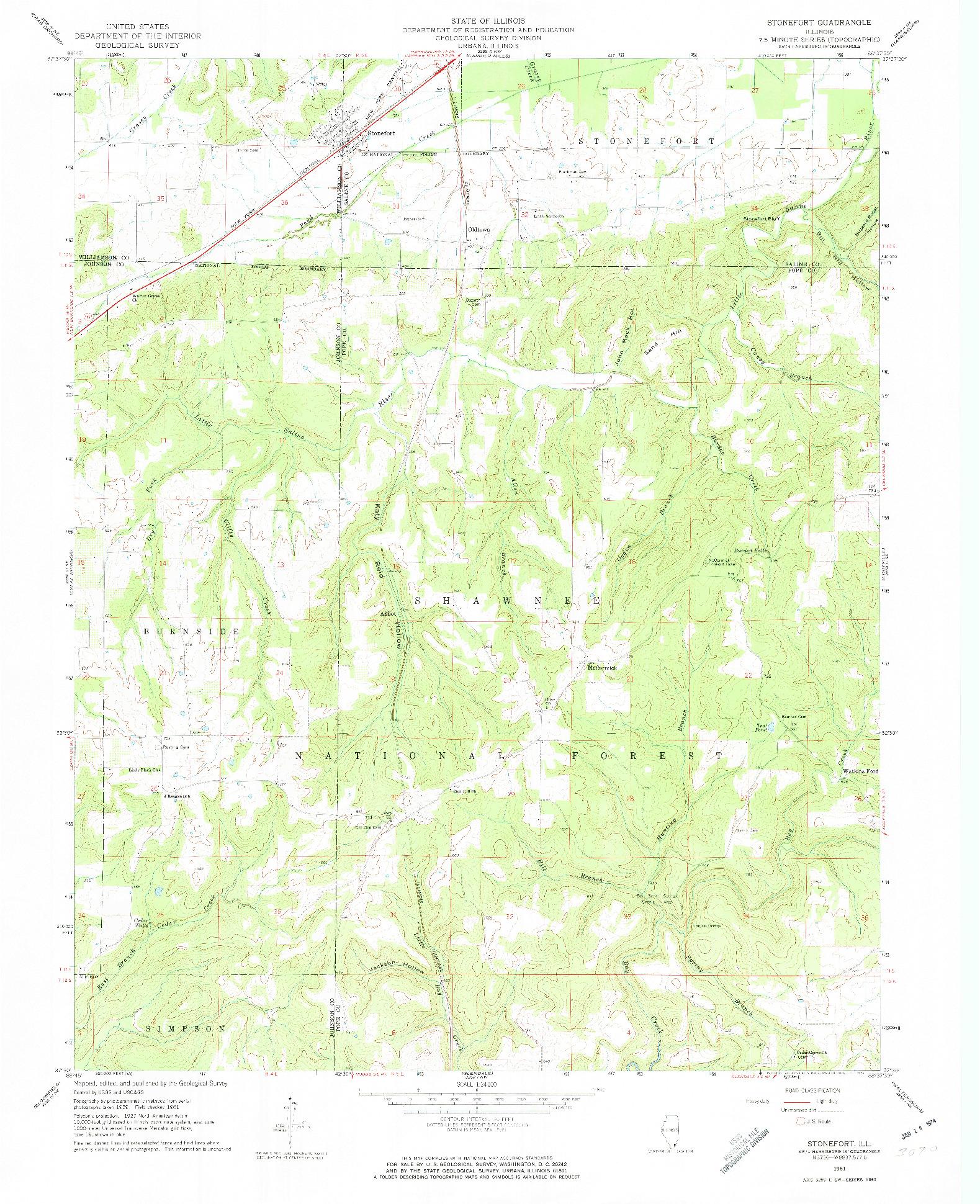 USGS 1:24000-SCALE QUADRANGLE FOR STONEFORT, IL 1961
