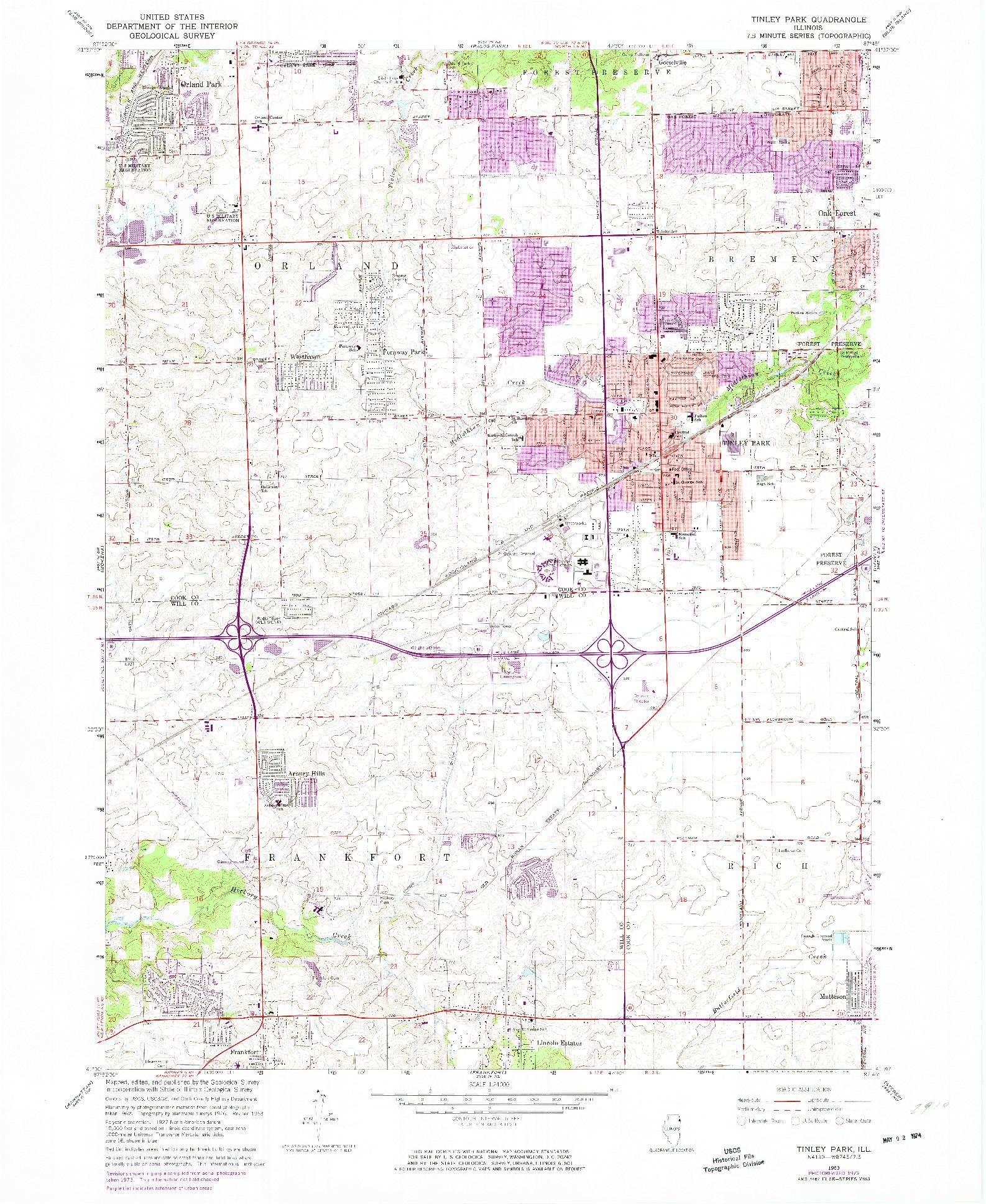 USGS 1:24000-SCALE QUADRANGLE FOR TINLEY PARK, IL 1963