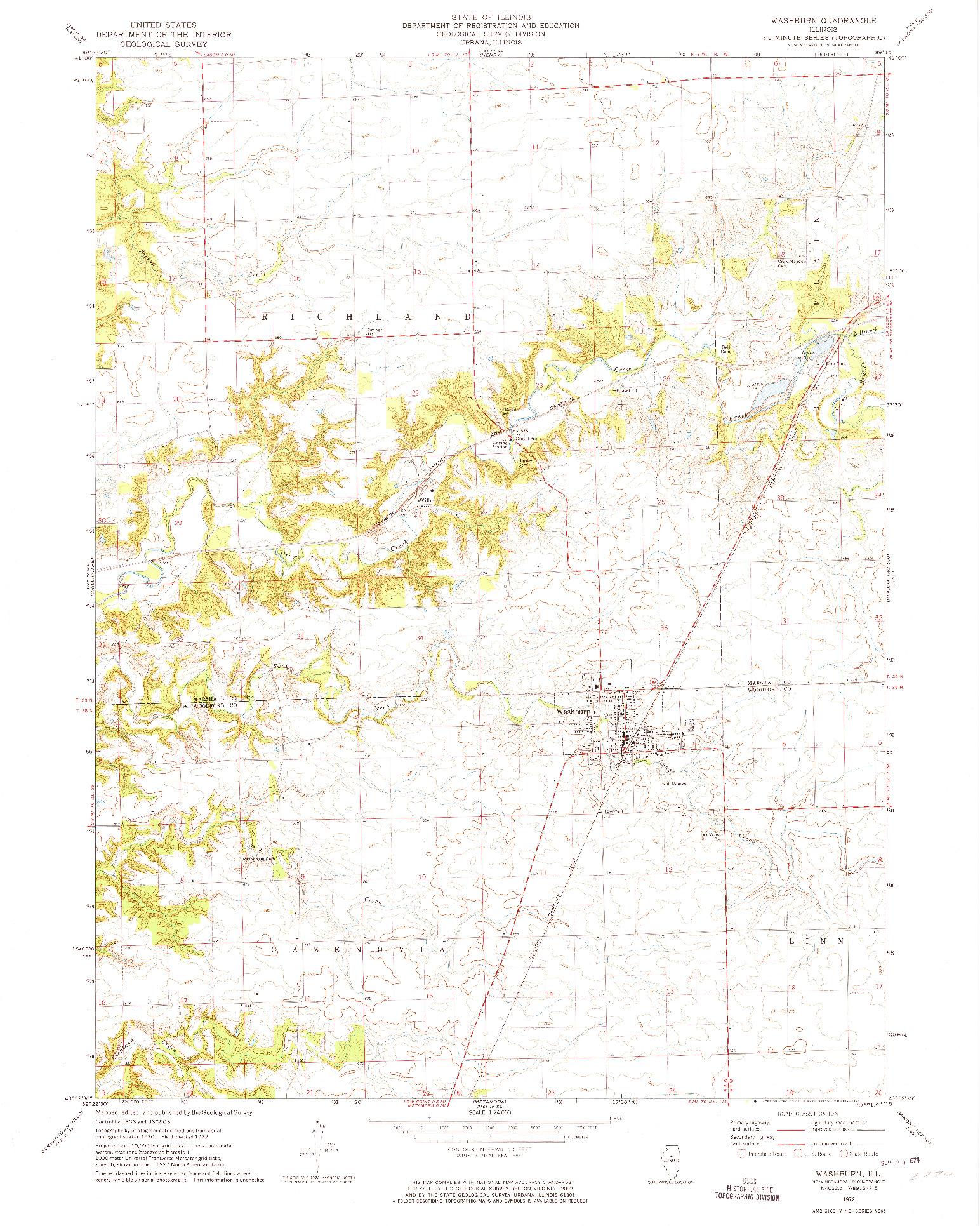 USGS 1:24000-SCALE QUADRANGLE FOR WASHBURN, IL 1972