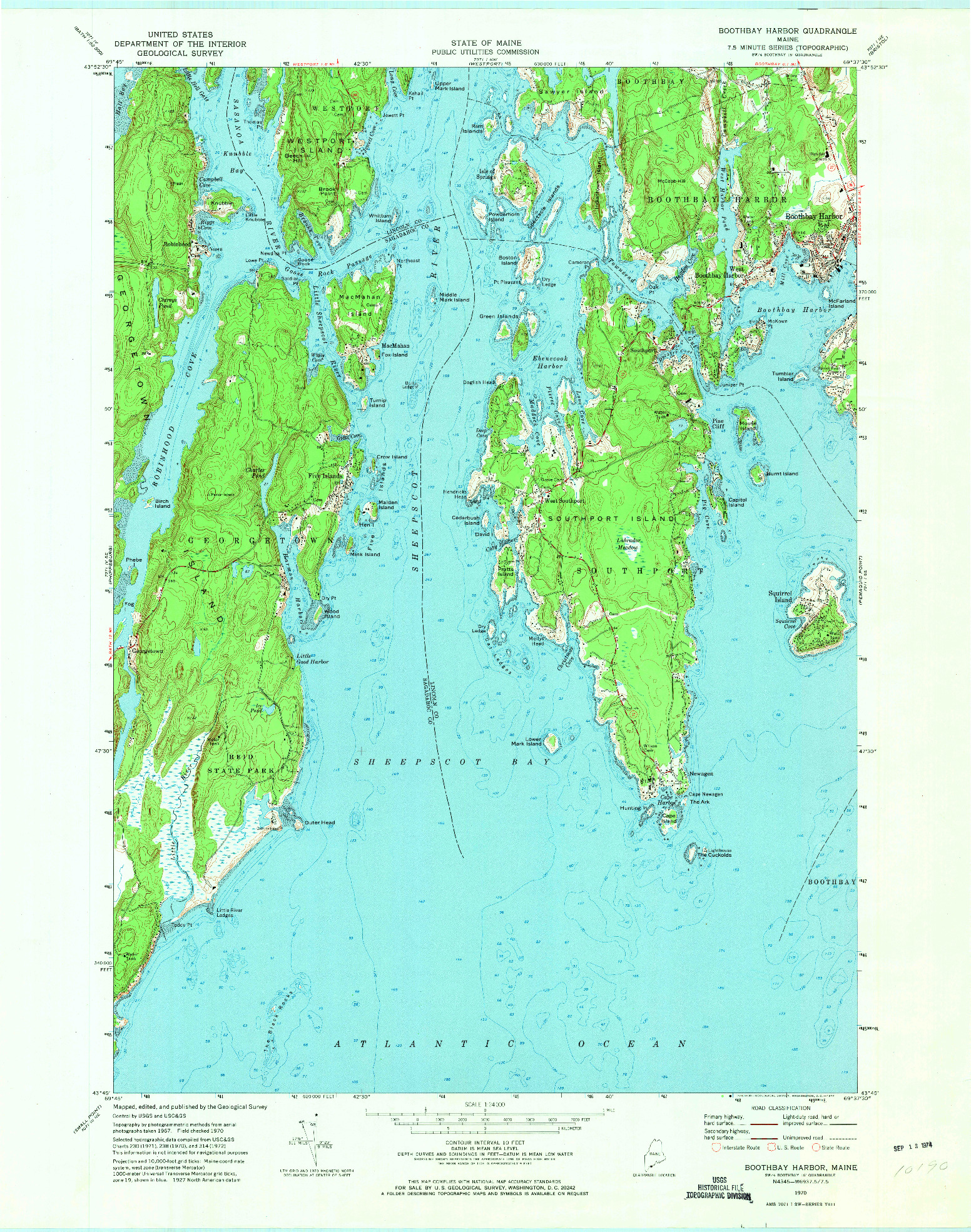 USGS 1:24000-SCALE QUADRANGLE FOR BOOTHBAY HARBOR, ME 1970