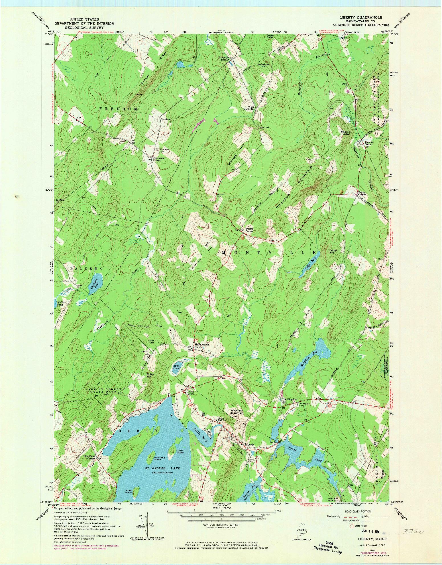 USGS 1:24000-SCALE QUADRANGLE FOR LIBERTY, ME 1961