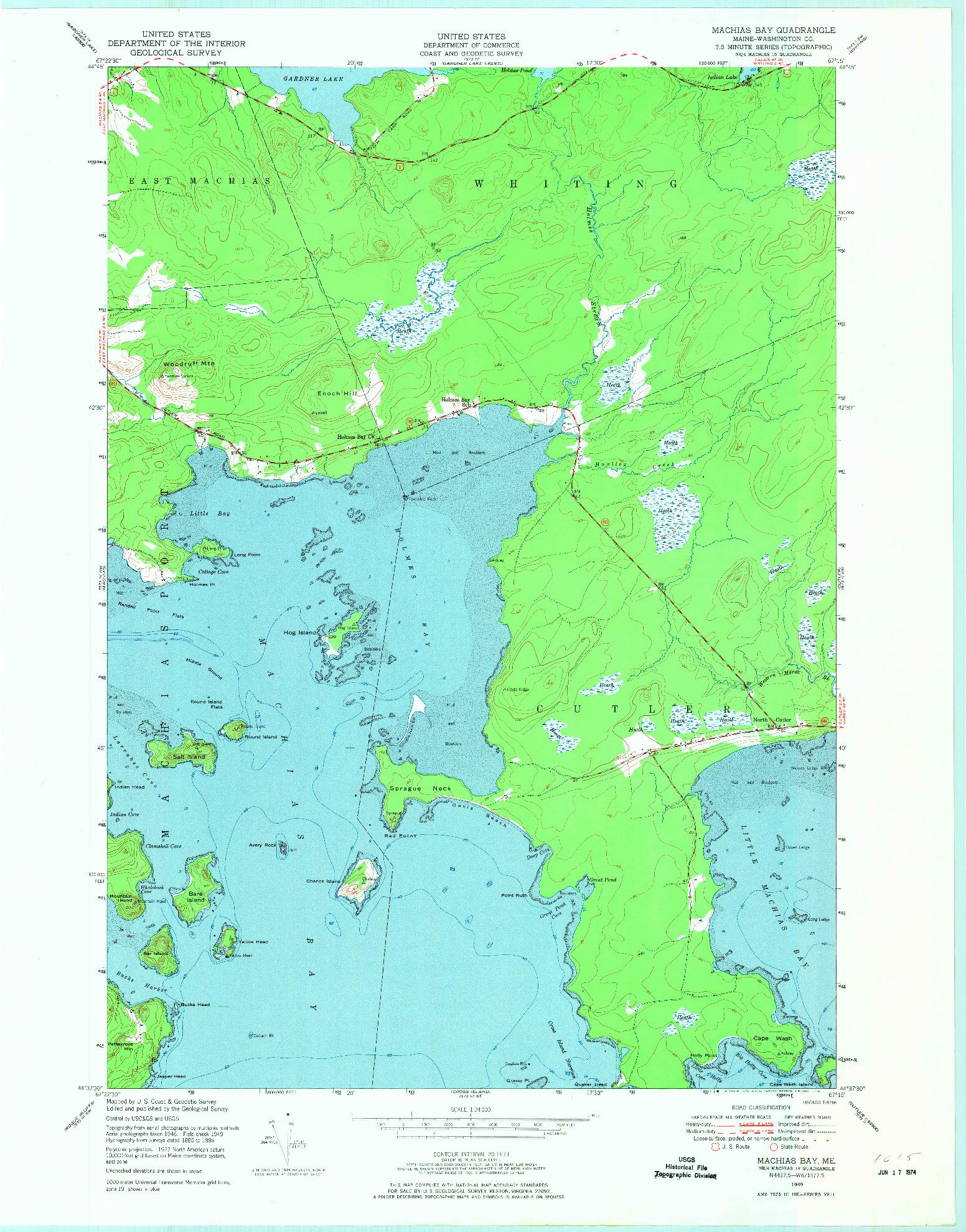 USGS 1:24000-SCALE QUADRANGLE FOR MACHIAS BAY, ME 1949