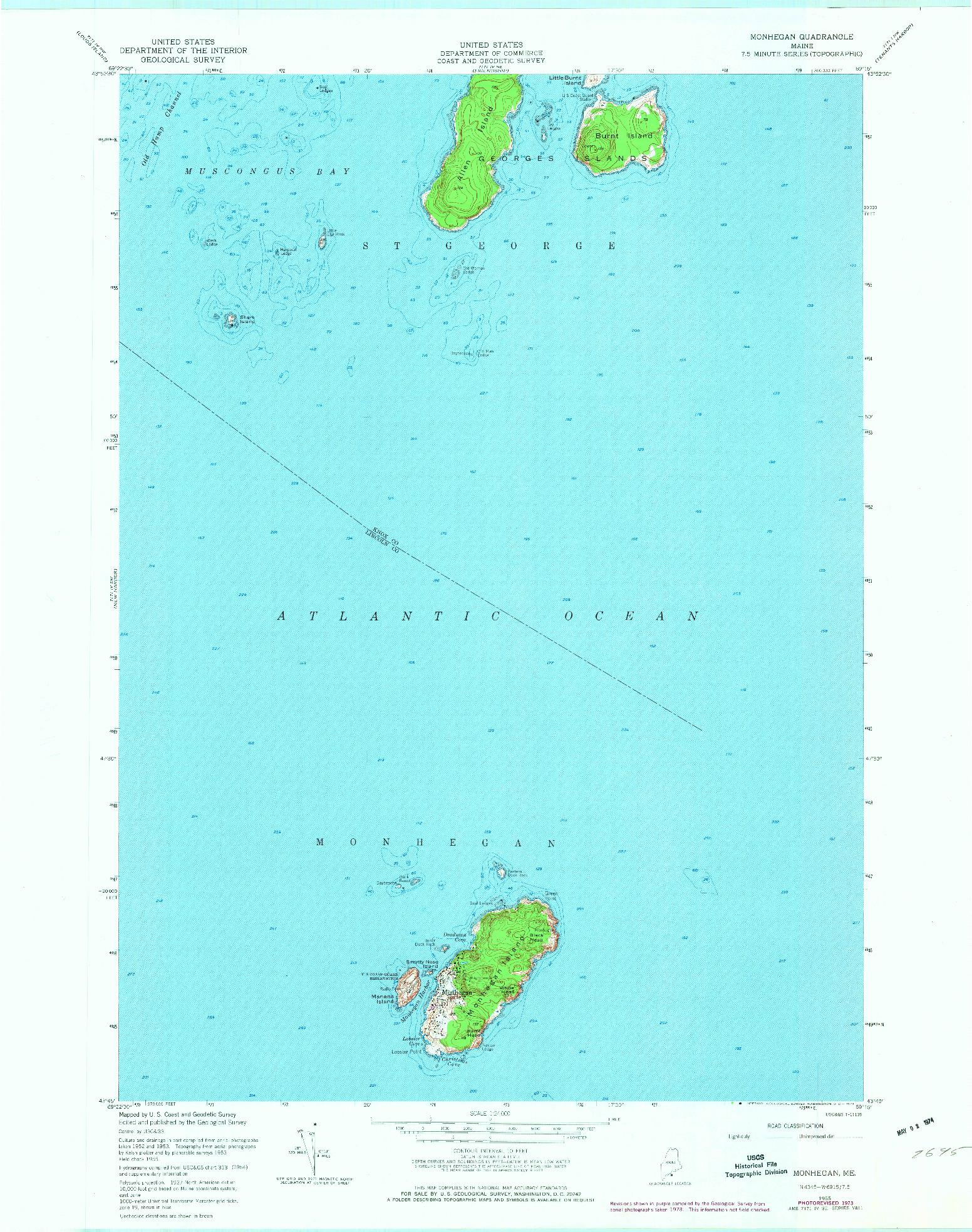USGS 1:24000-SCALE QUADRANGLE FOR MONHEGAN, ME 1955