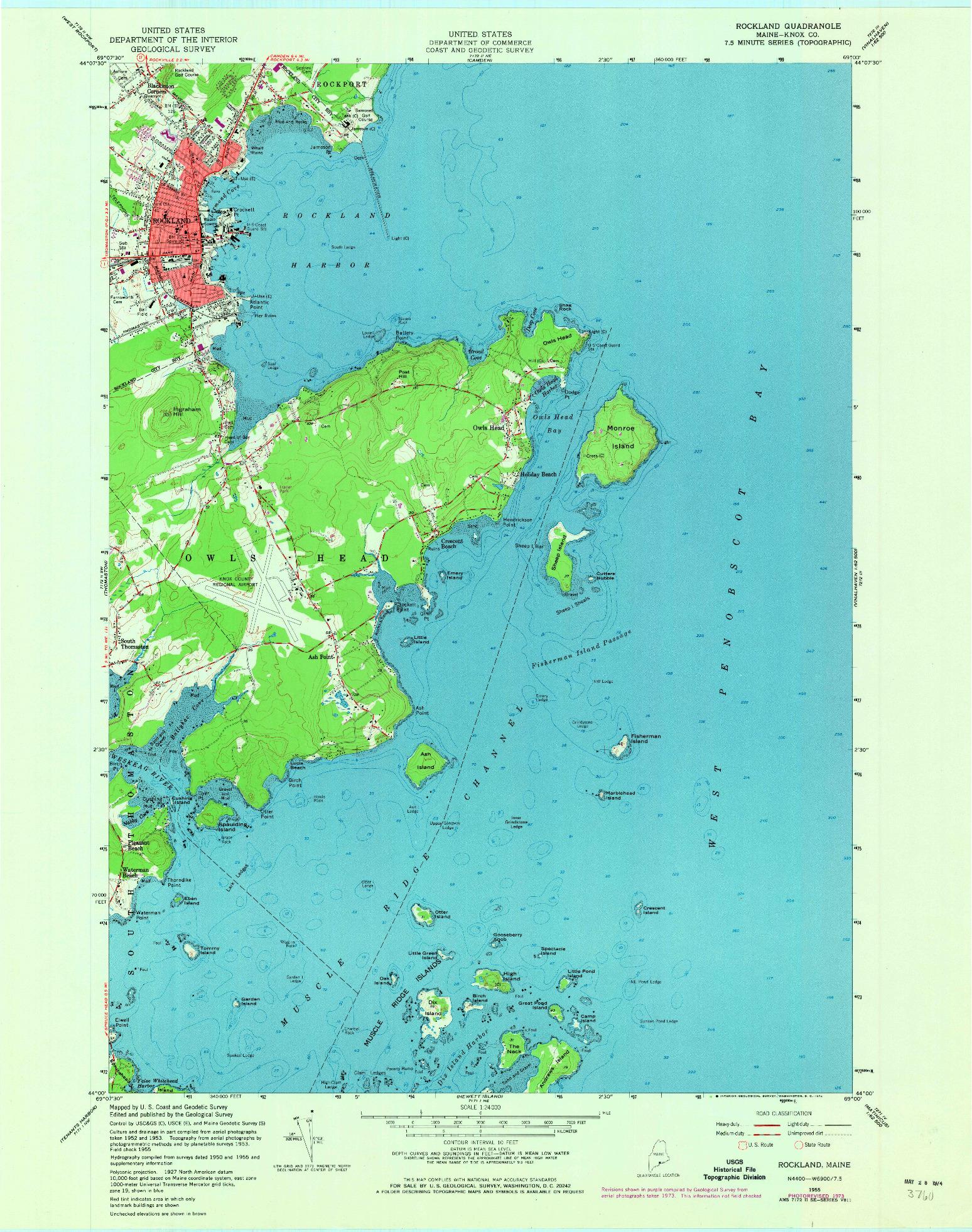 USGS 1:24000-SCALE QUADRANGLE FOR ROCKLAND, ME 1955
