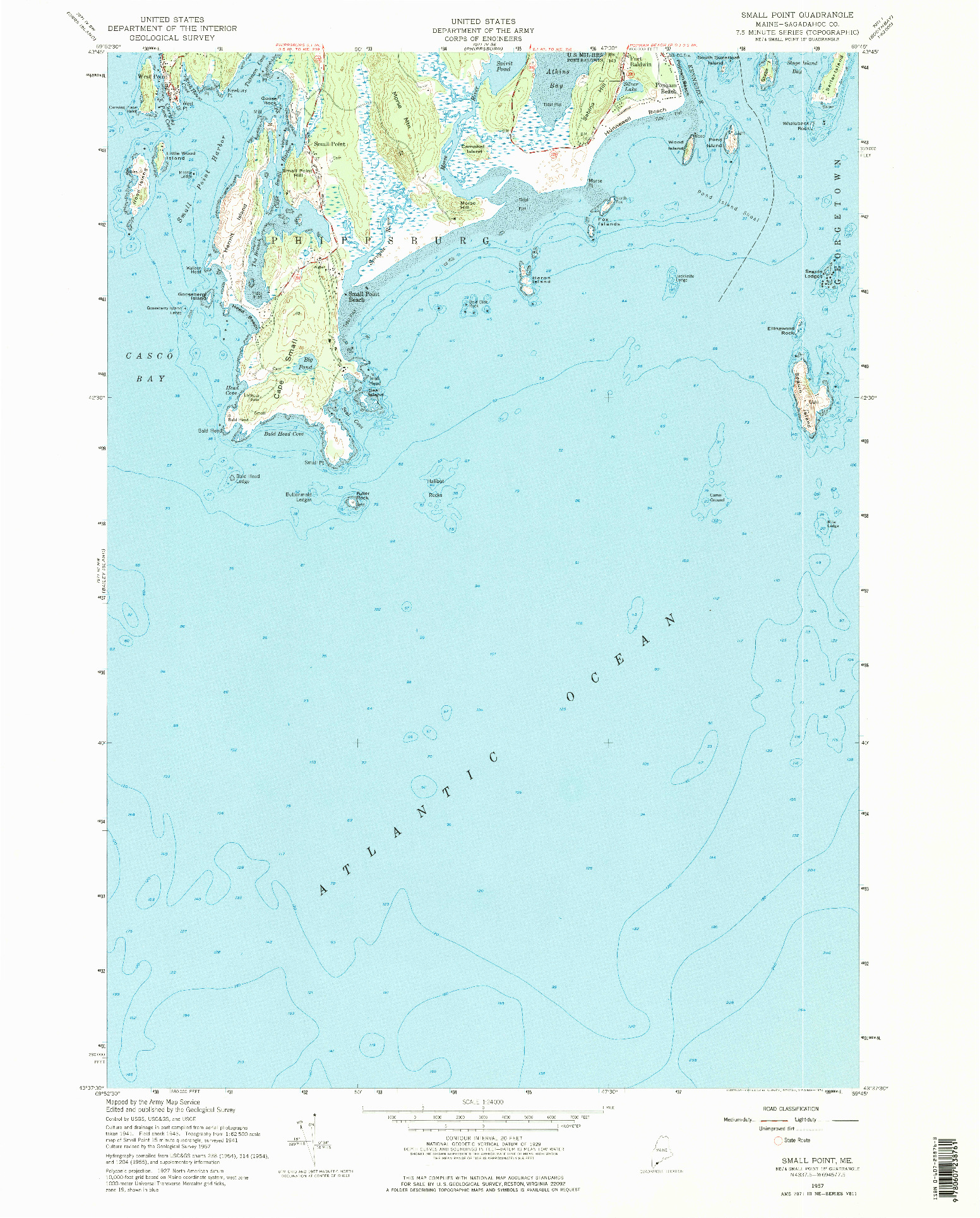USGS 1:24000-SCALE QUADRANGLE FOR SMALL POINT, ME 1957