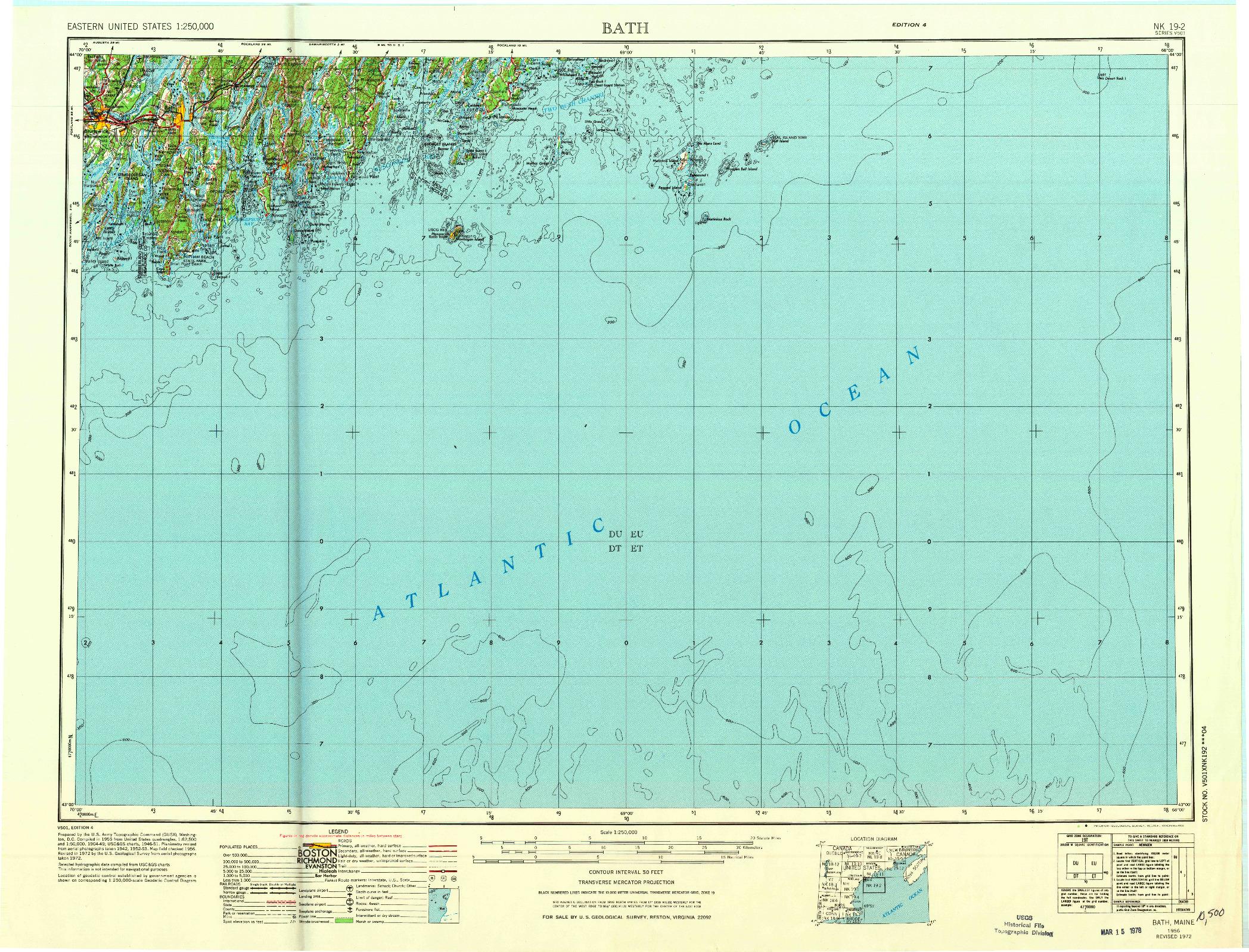 USGS 1:250000-SCALE QUADRANGLE FOR BATH, ME 1956