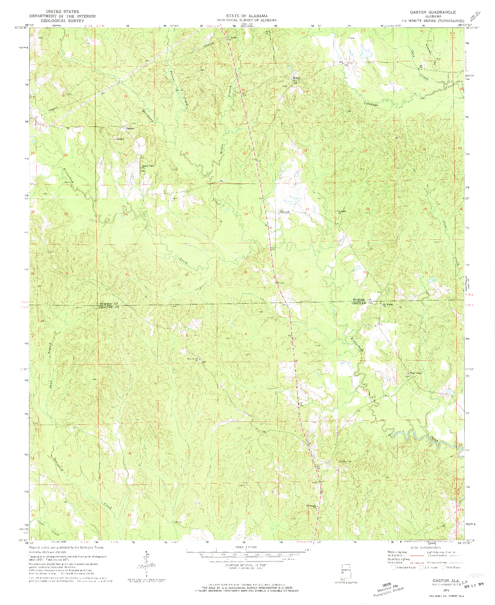 USGS 1:24000-SCALE QUADRANGLE FOR GASTON, AL 1971