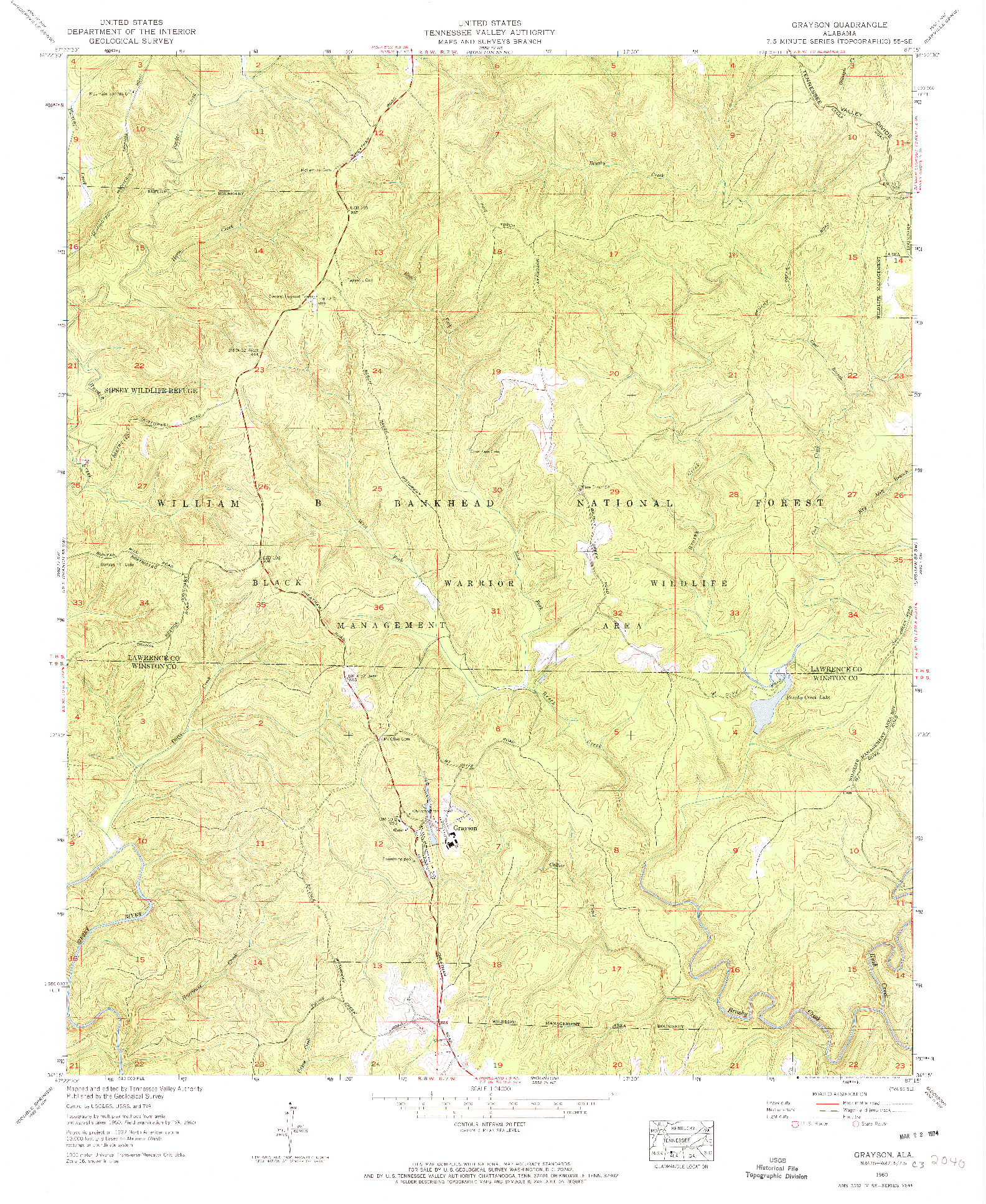 USGS 1:24000-SCALE QUADRANGLE FOR GRAYSON, AL 1960
