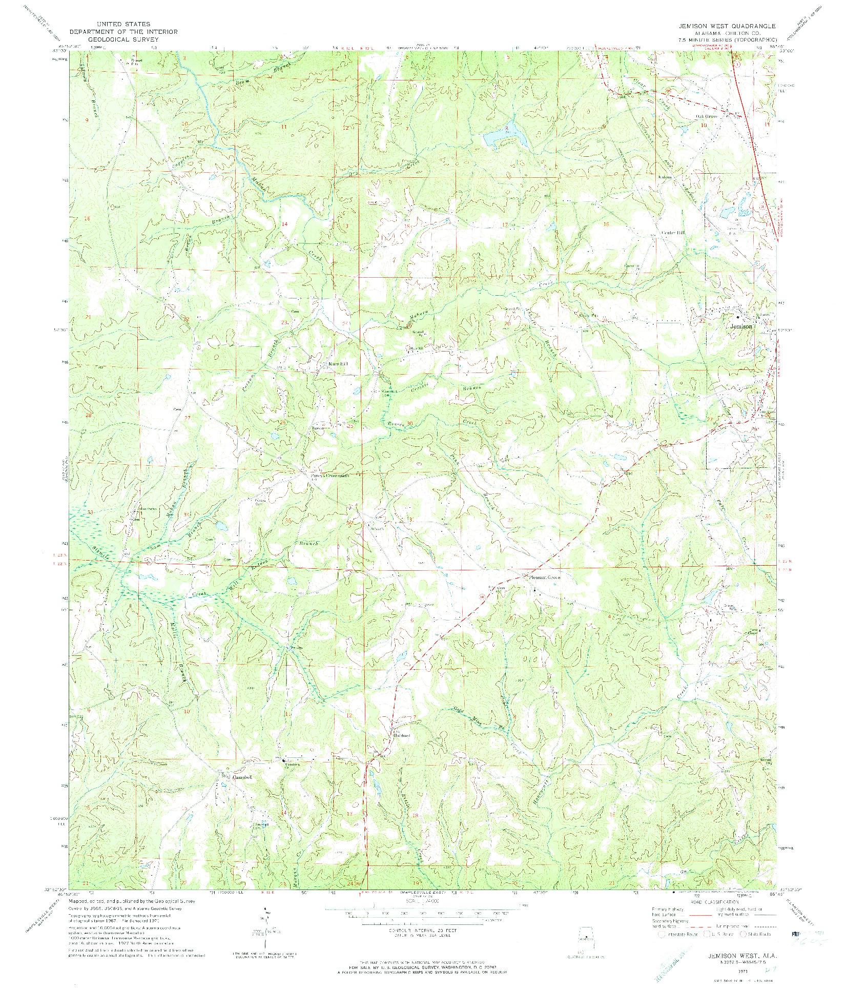 USGS 1:24000-SCALE QUADRANGLE FOR JEMISON WEST, AL 1971