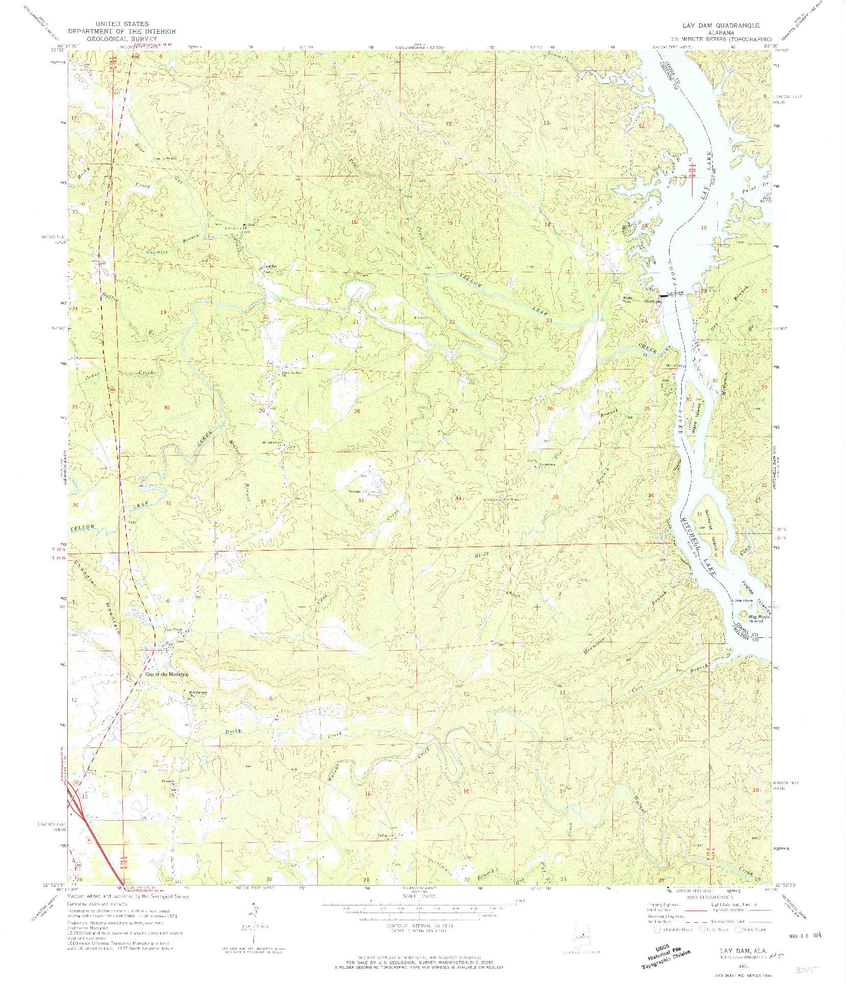 USGS 1:24000-SCALE QUADRANGLE FOR LAY DAM, AL 1971
