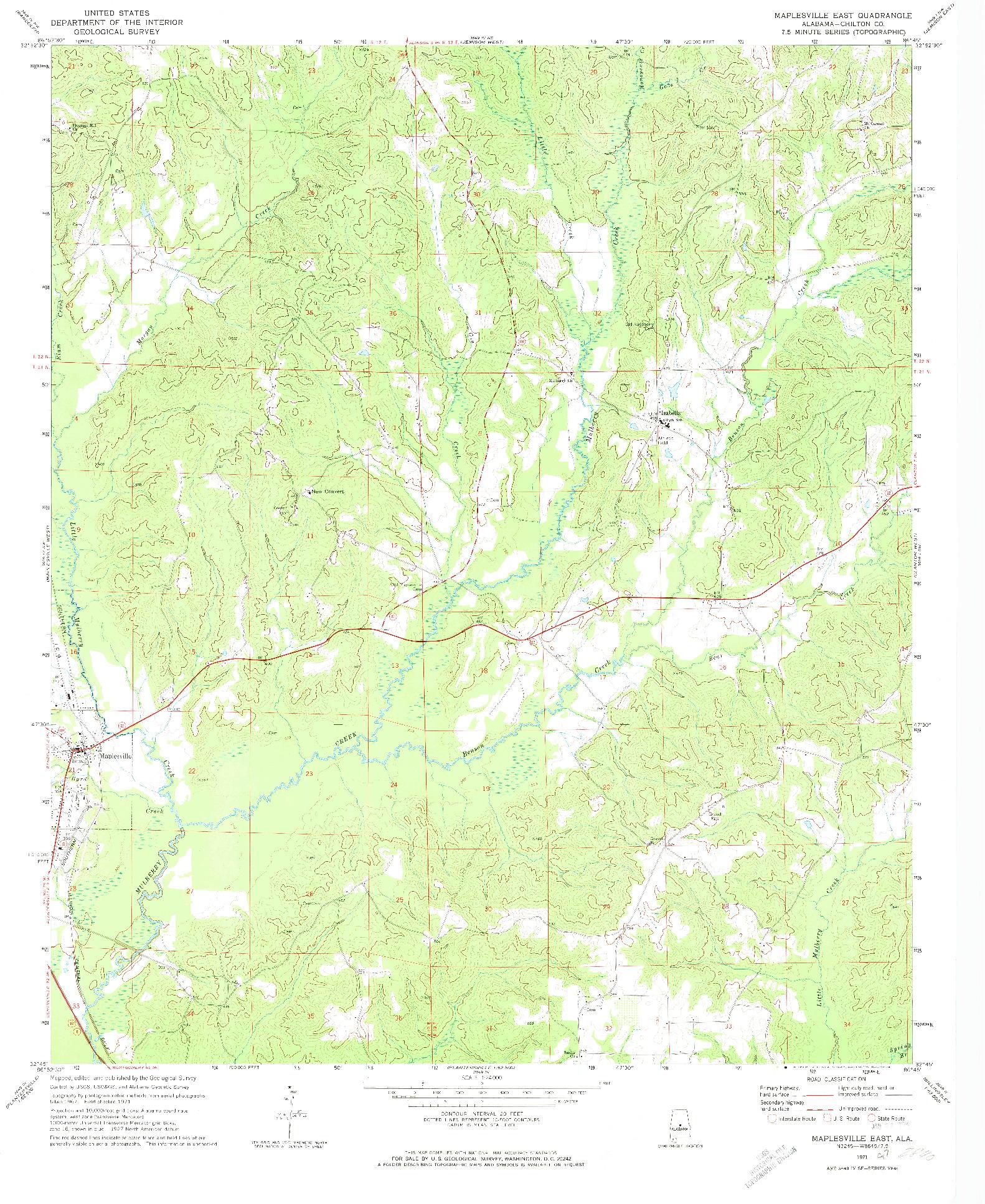 USGS 1:24000-SCALE QUADRANGLE FOR MAPLESVILLE EAST, AL 1971