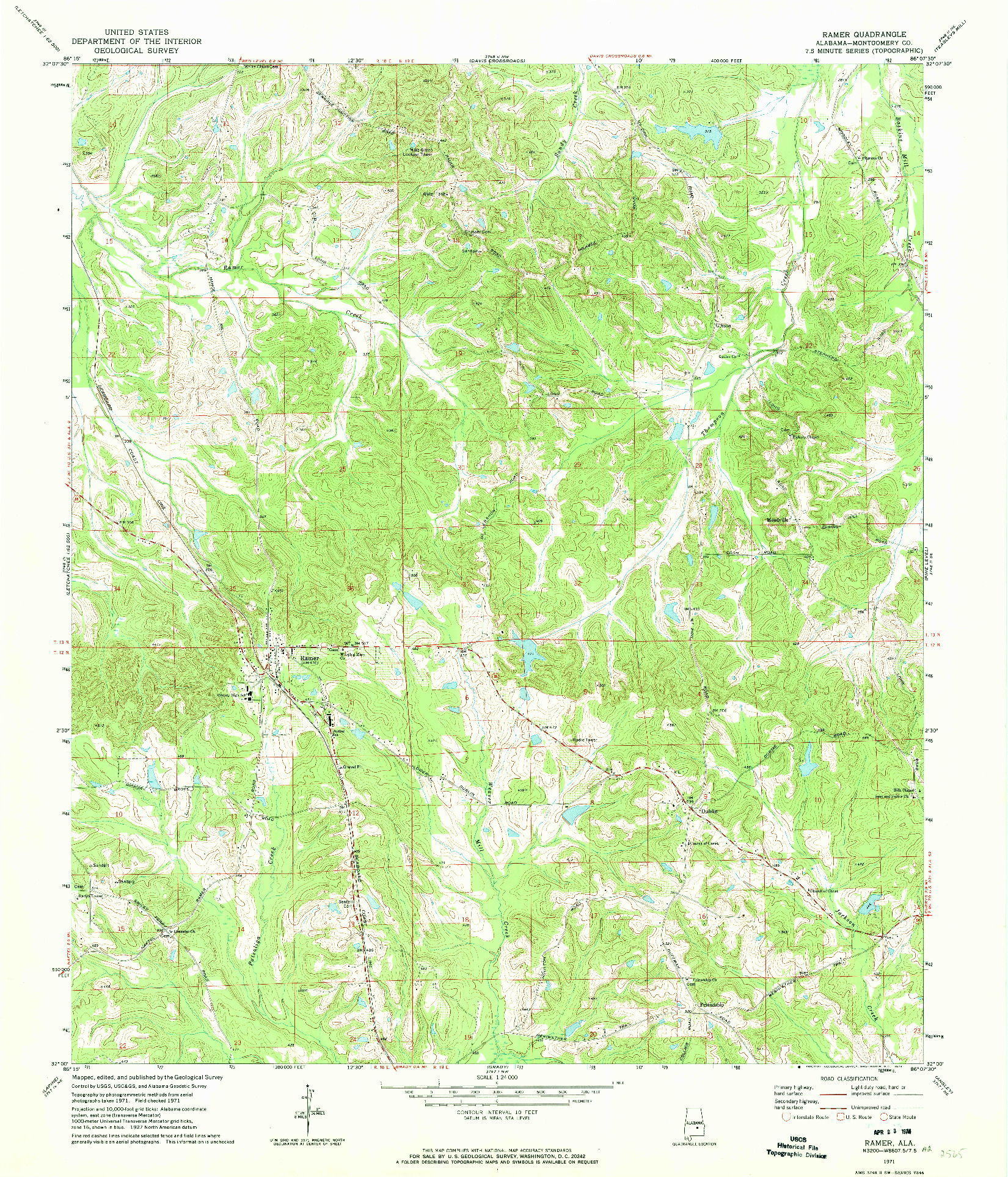 USGS 1:24000-SCALE QUADRANGLE FOR RAMER, AL 1971
