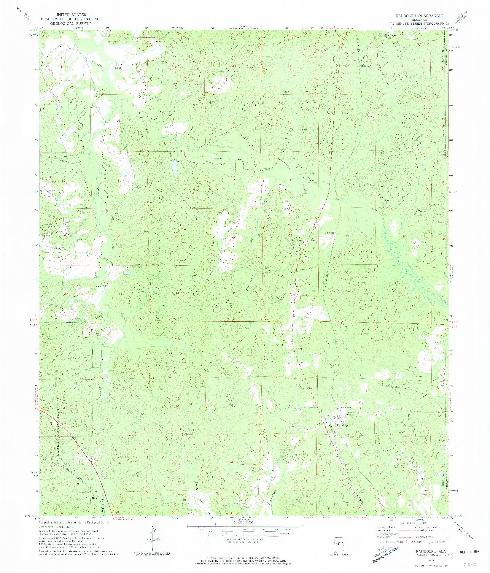 USGS 1:24000-SCALE QUADRANGLE FOR RANDOLPH, AL 1971