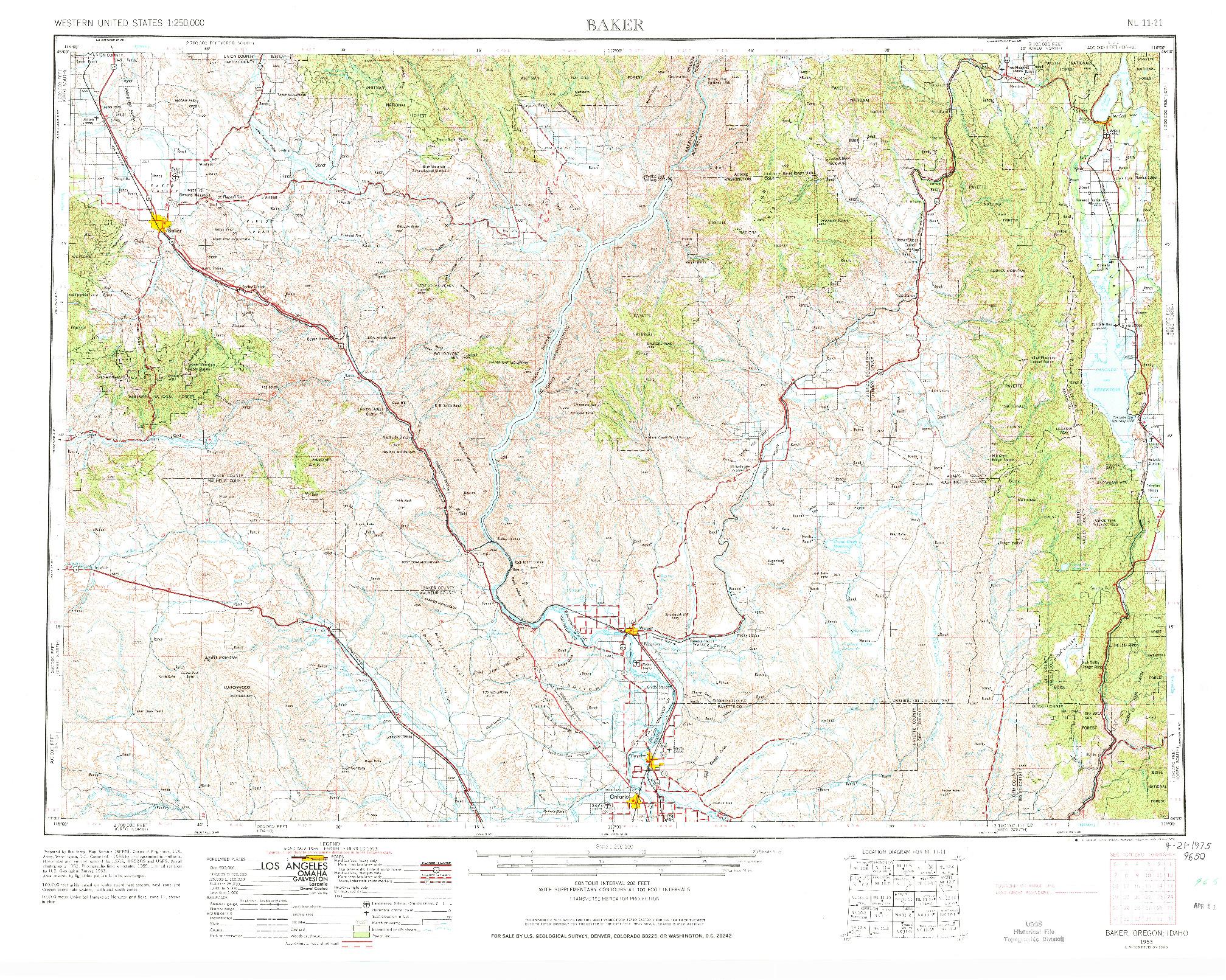USGS 1:250000-SCALE QUADRANGLE FOR BAKER, OR 1955