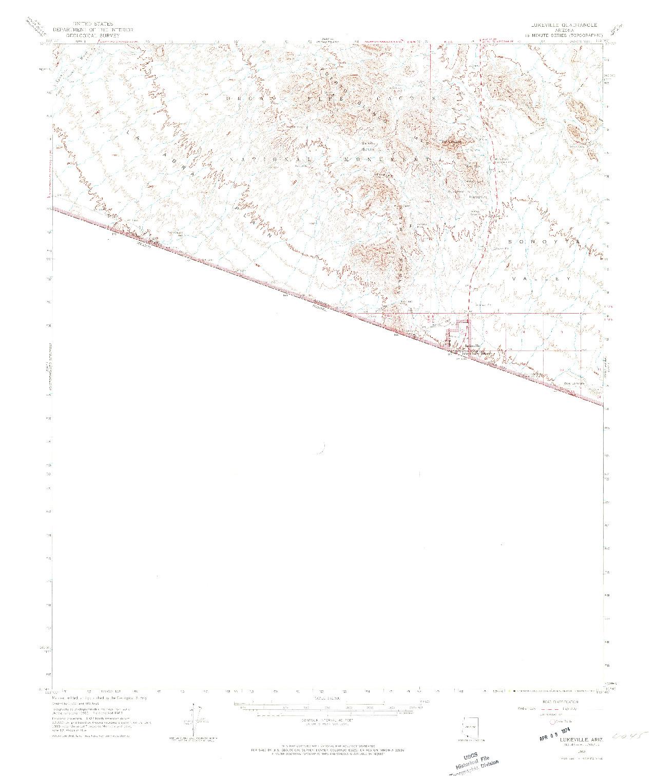 USGS 1:62500-SCALE QUADRANGLE FOR LUKEVILLE, AZ 1963