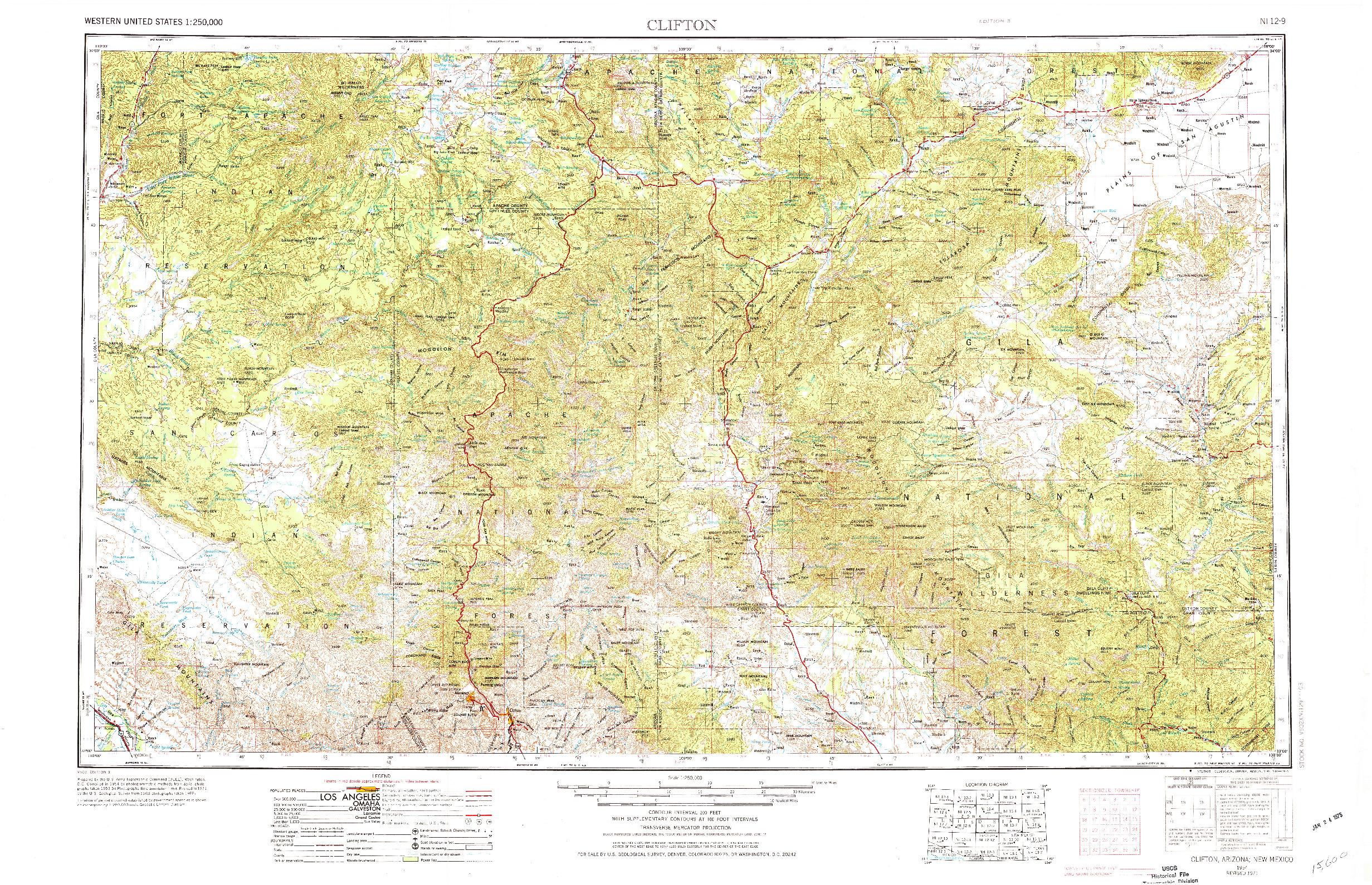 USGS 1:250000-SCALE QUADRANGLE FOR CLIFTON, AZ 1954