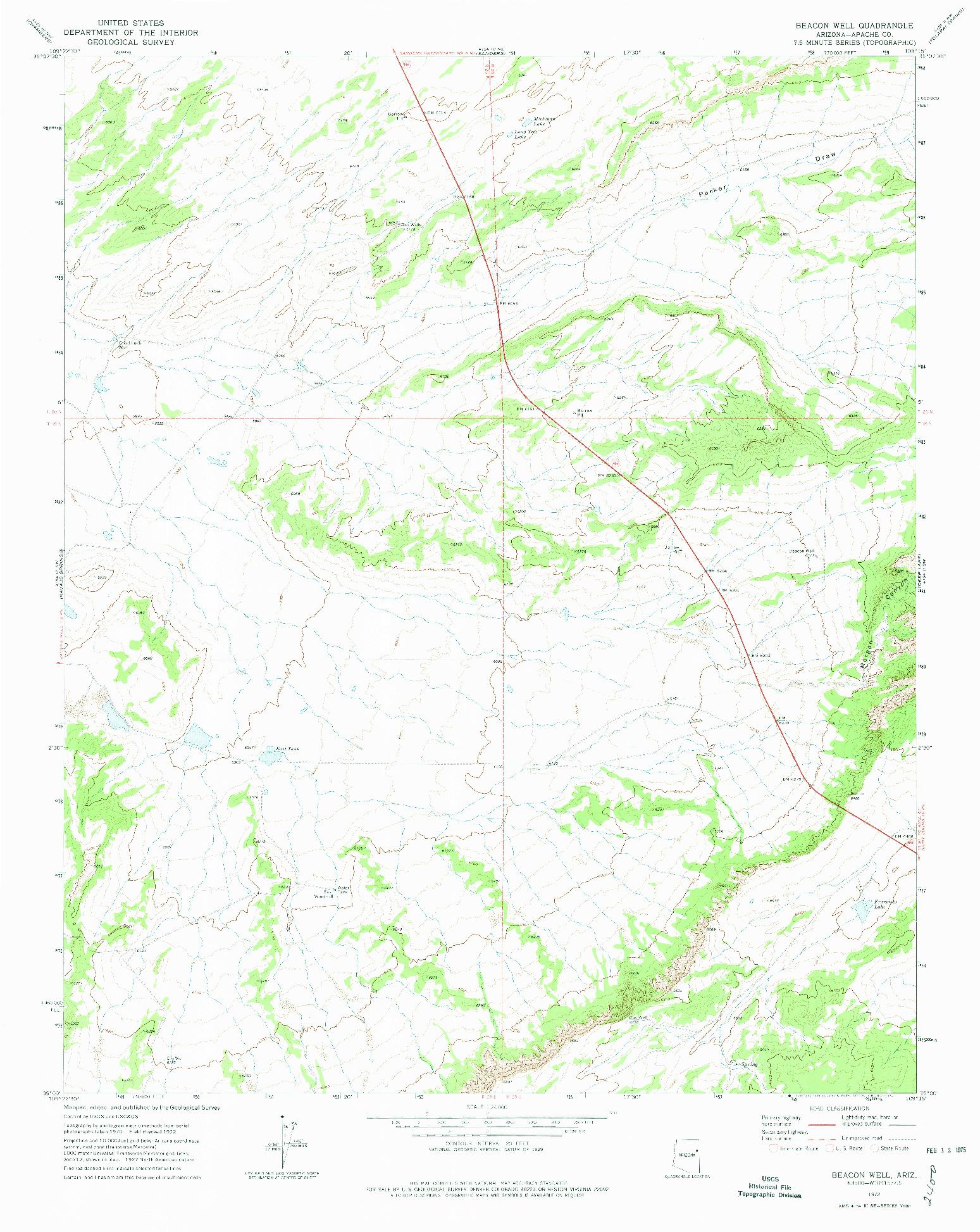 USGS 1:24000-SCALE QUADRANGLE FOR BEACON WELL, AZ 1972