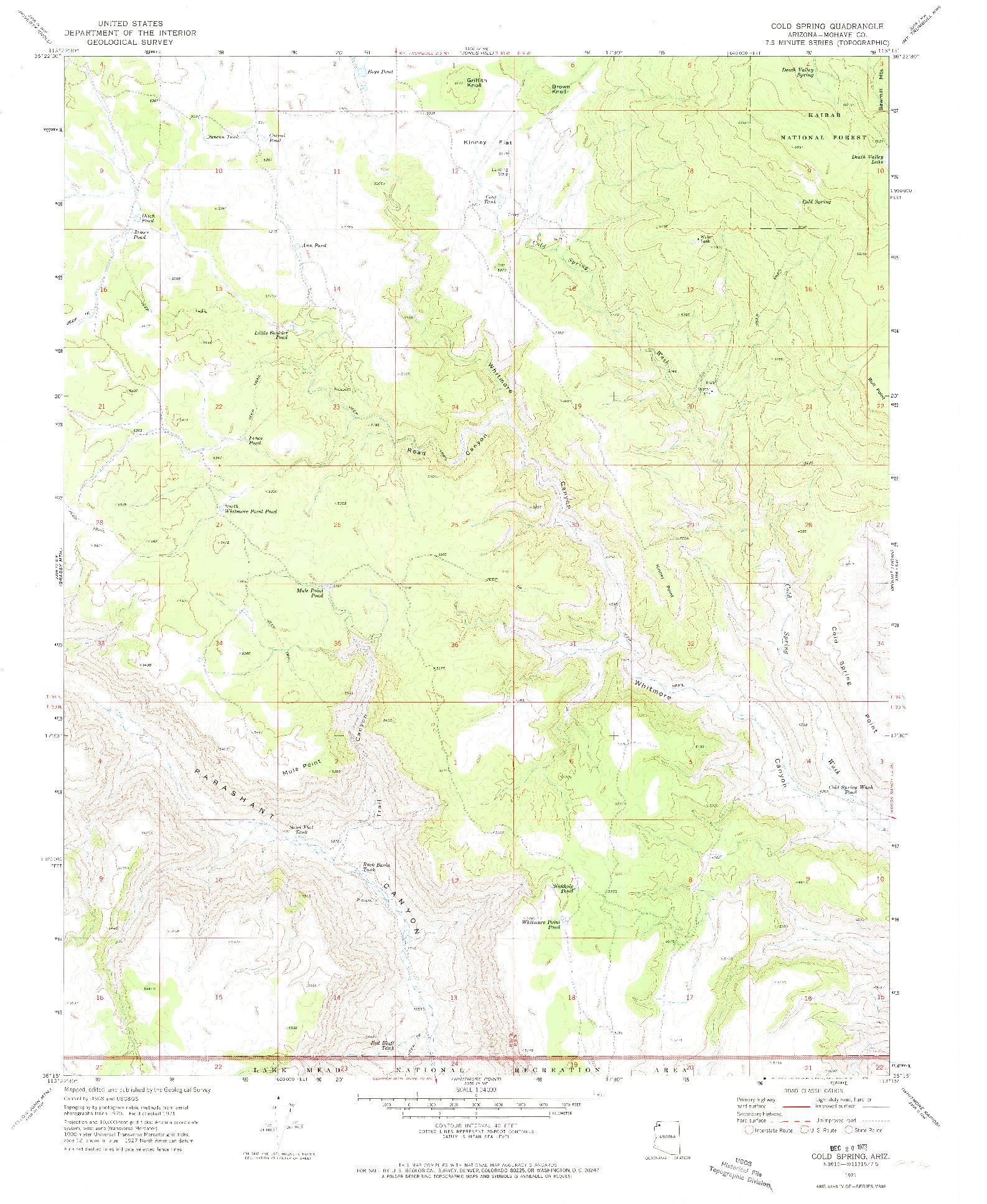 USGS 1:24000-SCALE QUADRANGLE FOR COLD SPRING, AZ 1971