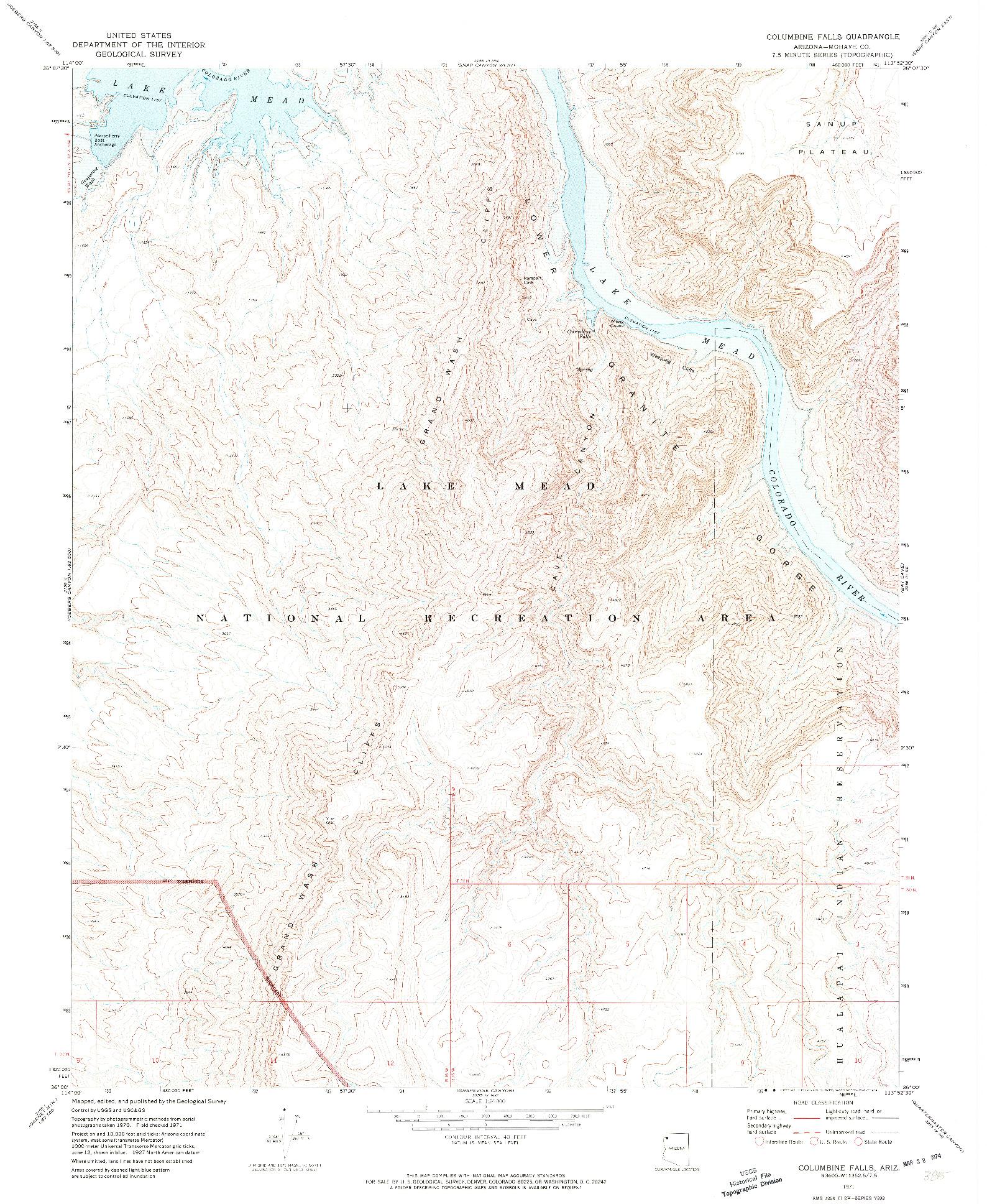 USGS 1:24000-SCALE QUADRANGLE FOR COLUMBINE FALLS, AZ 1971