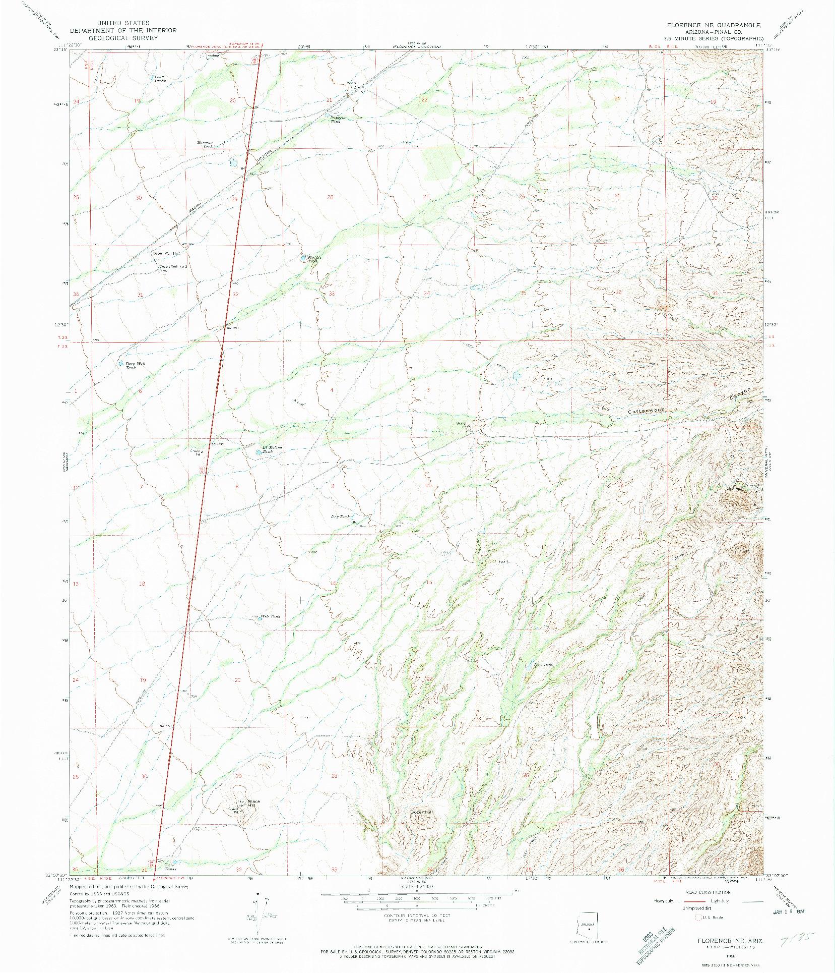 USGS 1:24000-SCALE QUADRANGLE FOR FLORENCE NE, AZ 1966