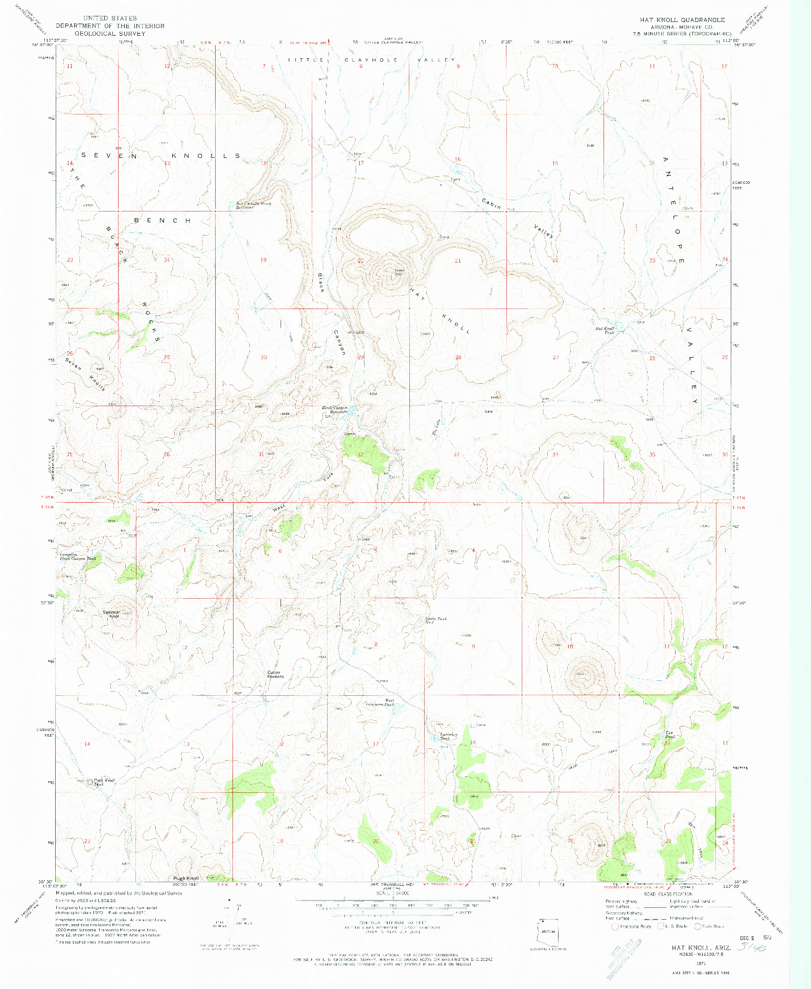 USGS 1:24000-SCALE QUADRANGLE FOR HAT KNOLL, AZ 1971