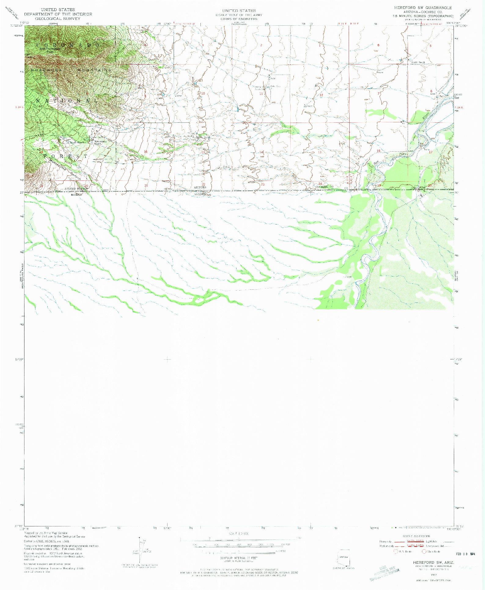 USGS 1:24000-SCALE QUADRANGLE FOR HEREFORD SW, AZ 1952