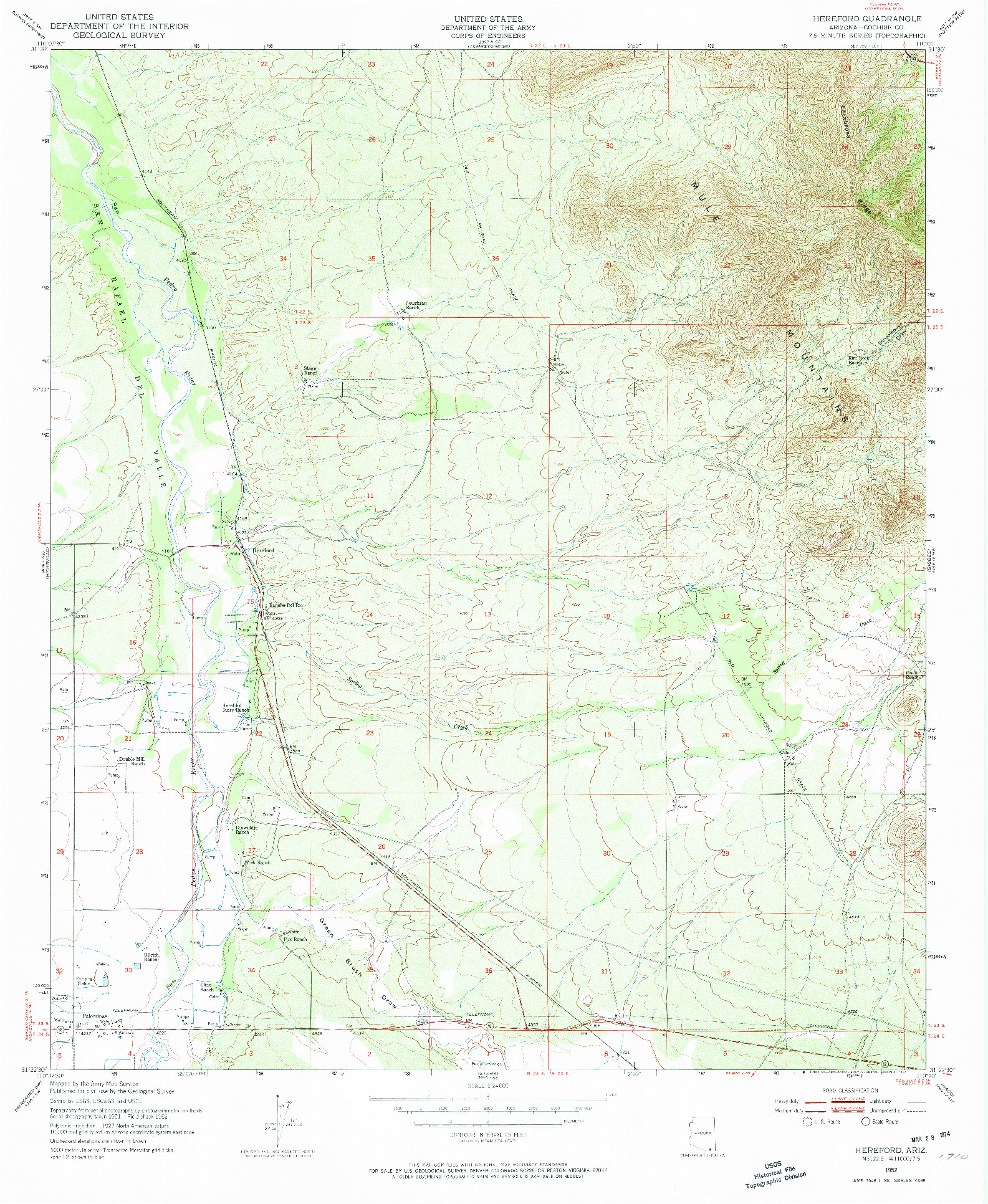 USGS 1:24000-SCALE QUADRANGLE FOR HEREFORD, AZ 1952