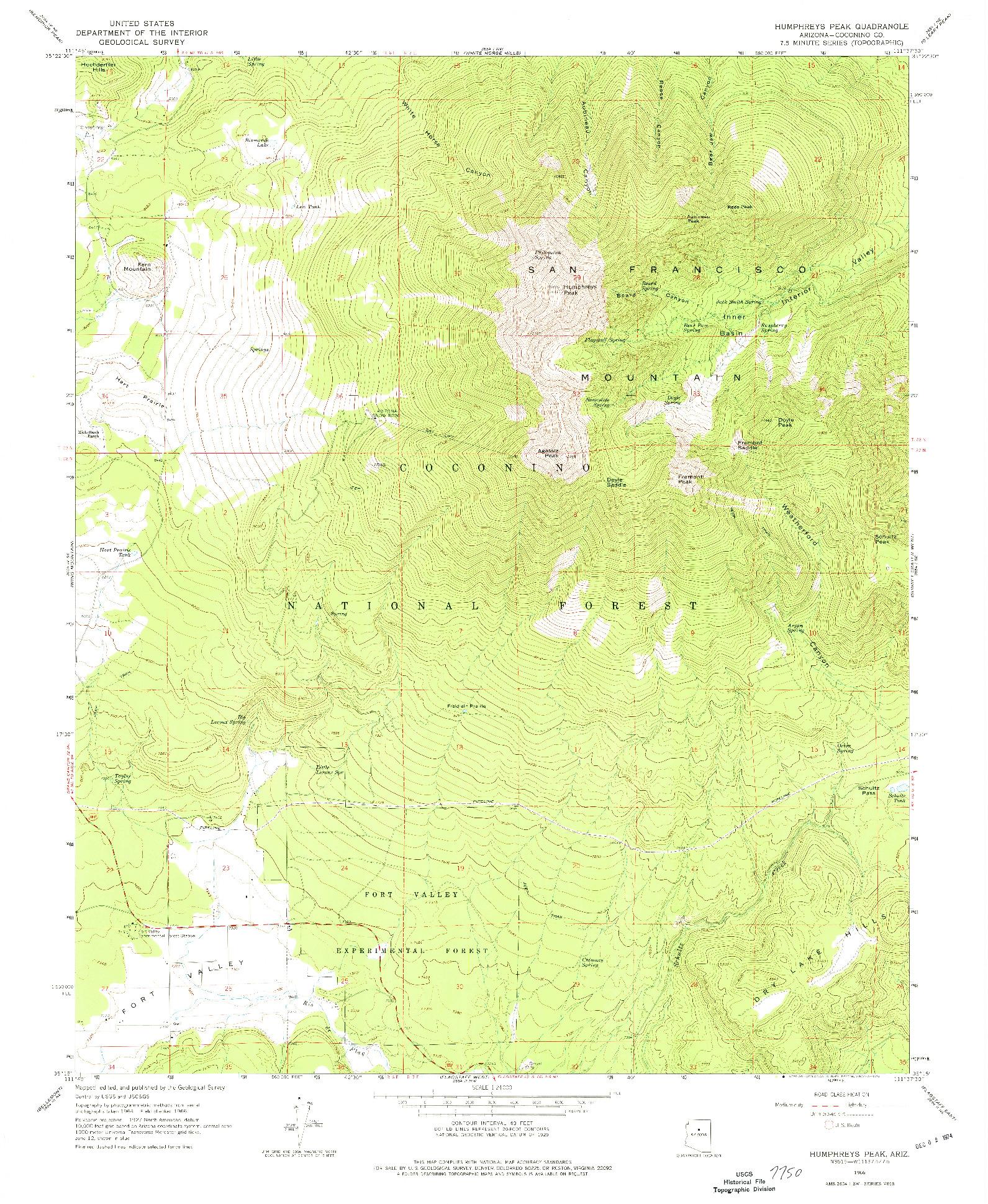 USGS 1:24000-SCALE QUADRANGLE FOR HUMPHREYS PEAK, AZ 1966