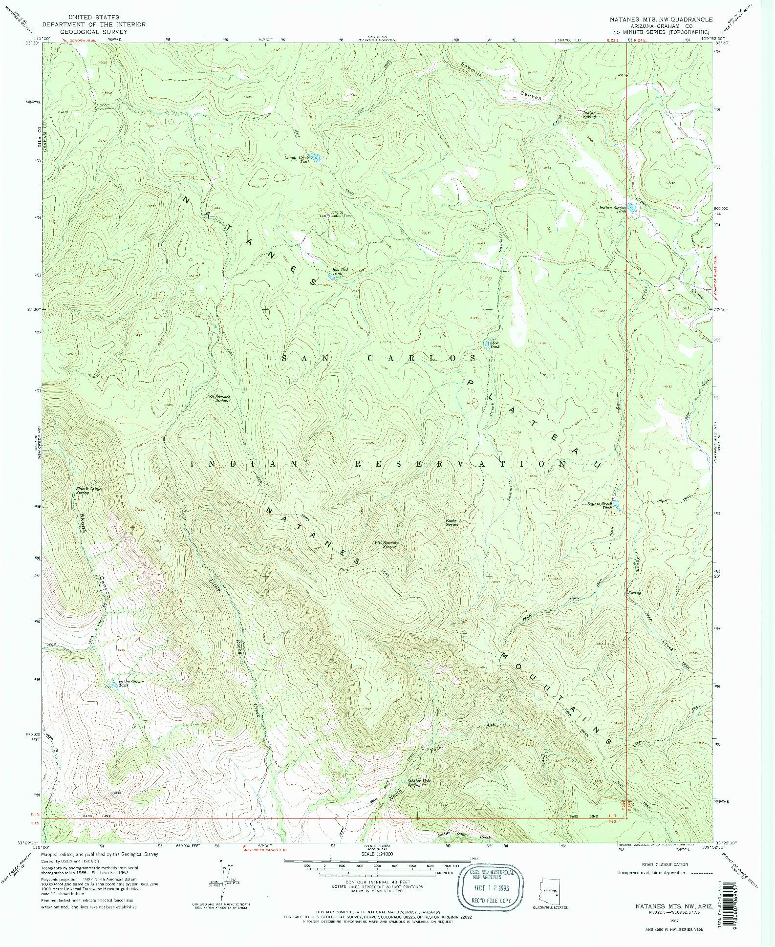USGS 1:24000-SCALE QUADRANGLE FOR NATANES MTS NW, AZ 1967