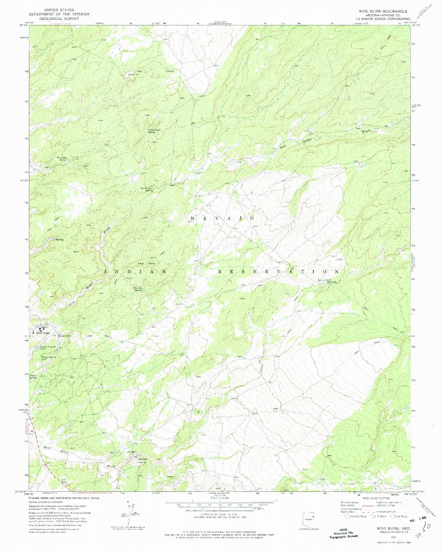 USGS 1:24000-SCALE QUADRANGLE FOR WIDE RUINS, AZ 1971