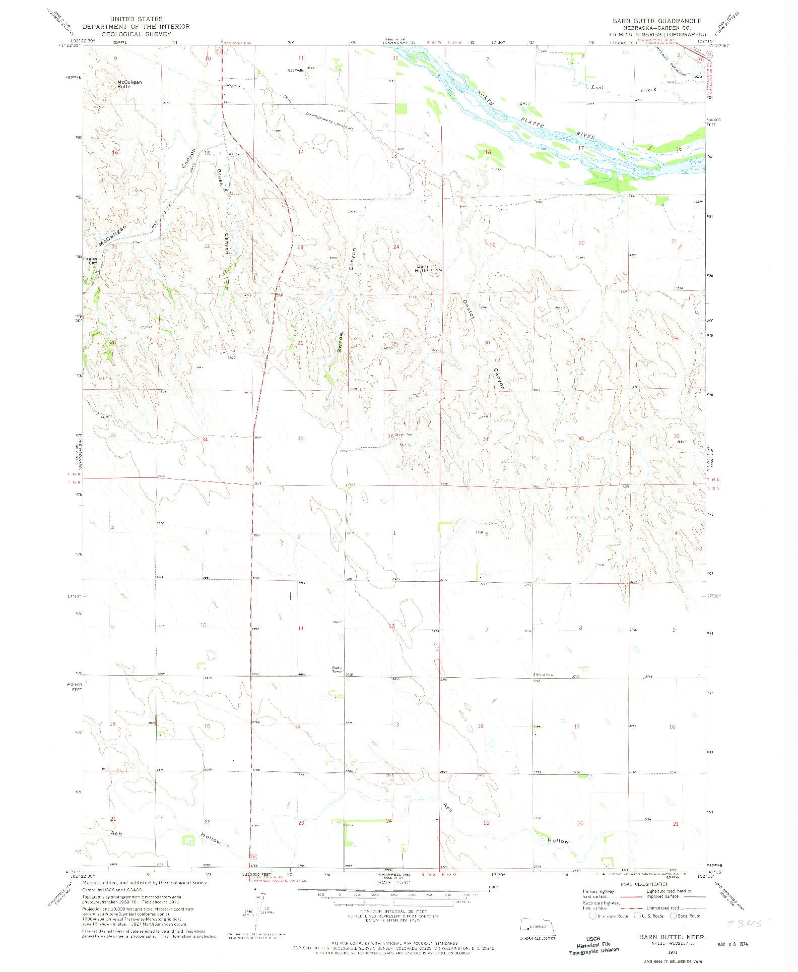 USGS 1:24000-SCALE QUADRANGLE FOR BARN BUTTE, NE 1971