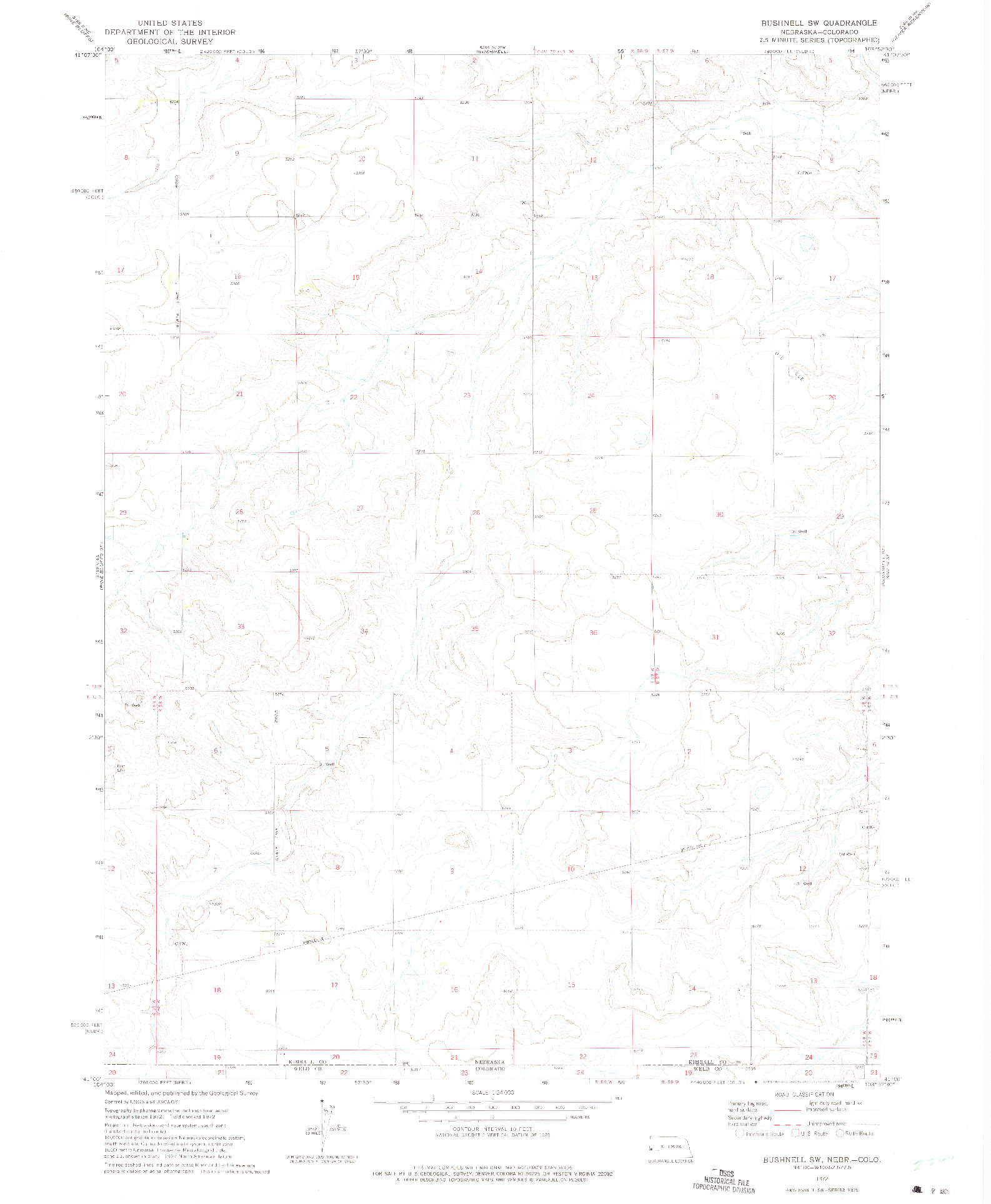 USGS 1:24000-SCALE QUADRANGLE FOR BUSHNELL SW, NE 1972