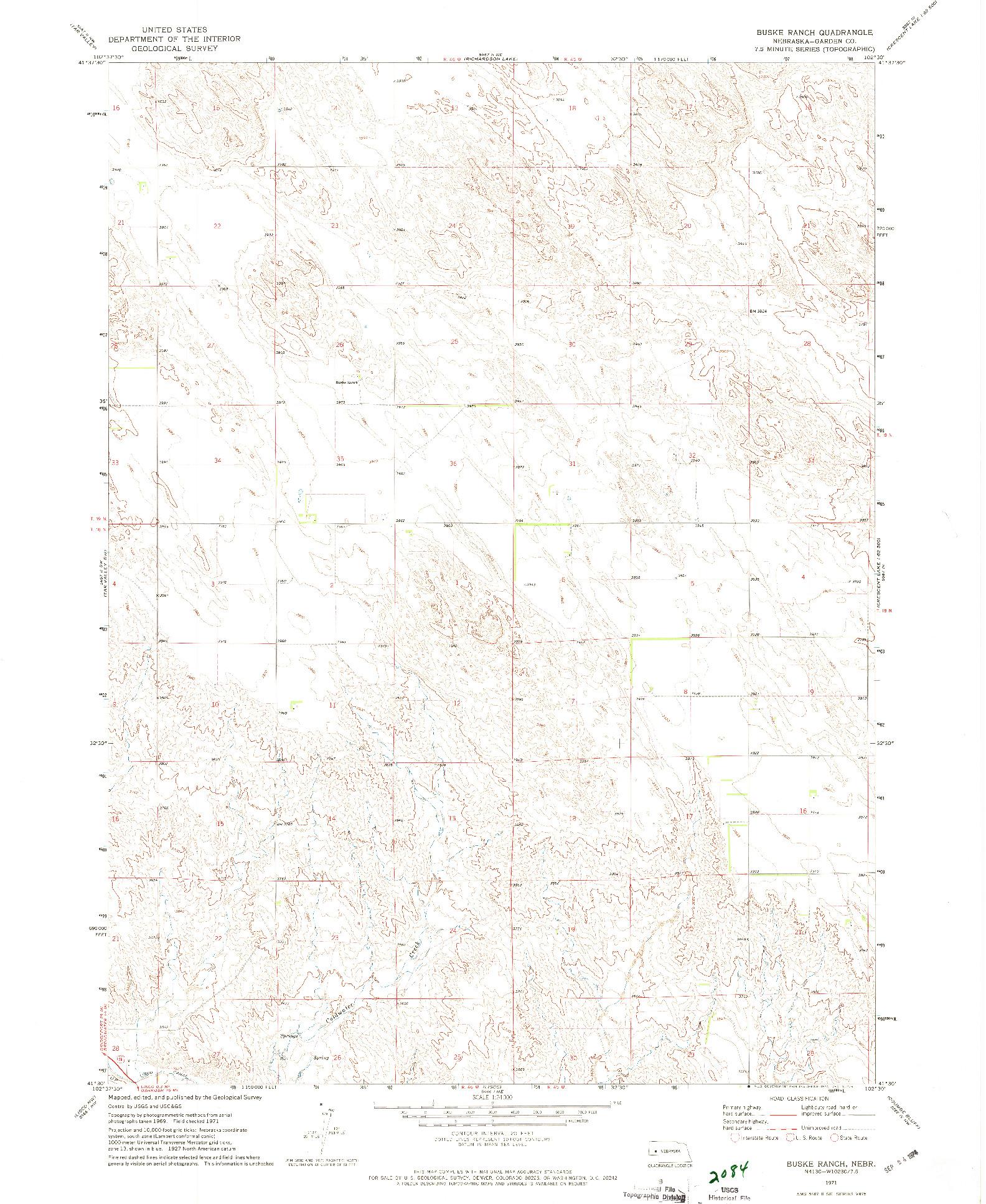 USGS 1:24000-SCALE QUADRANGLE FOR BUSKE RANCH, NE 1971