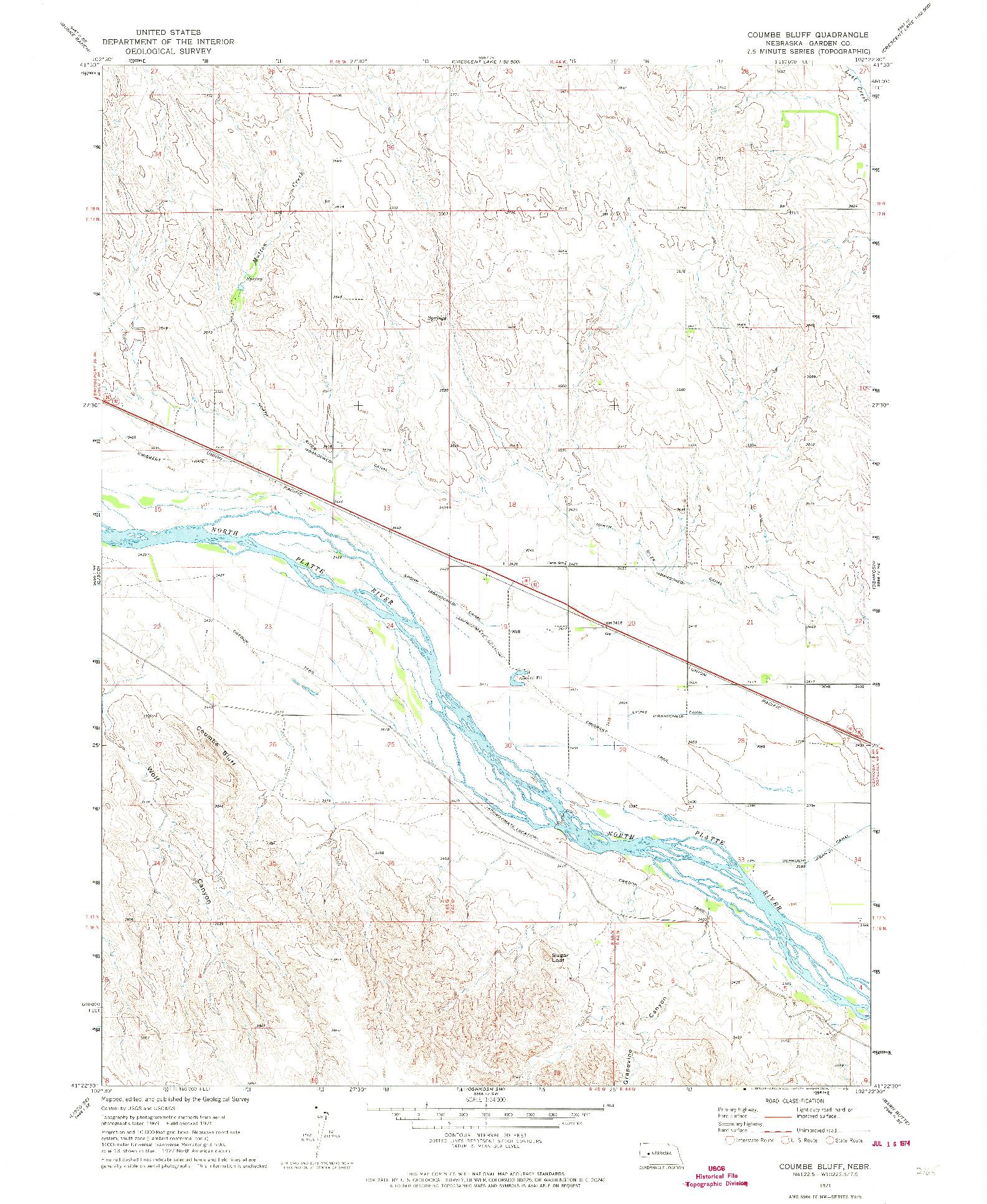 USGS 1:24000-SCALE QUADRANGLE FOR COUMBE BLUFF, NE 1971