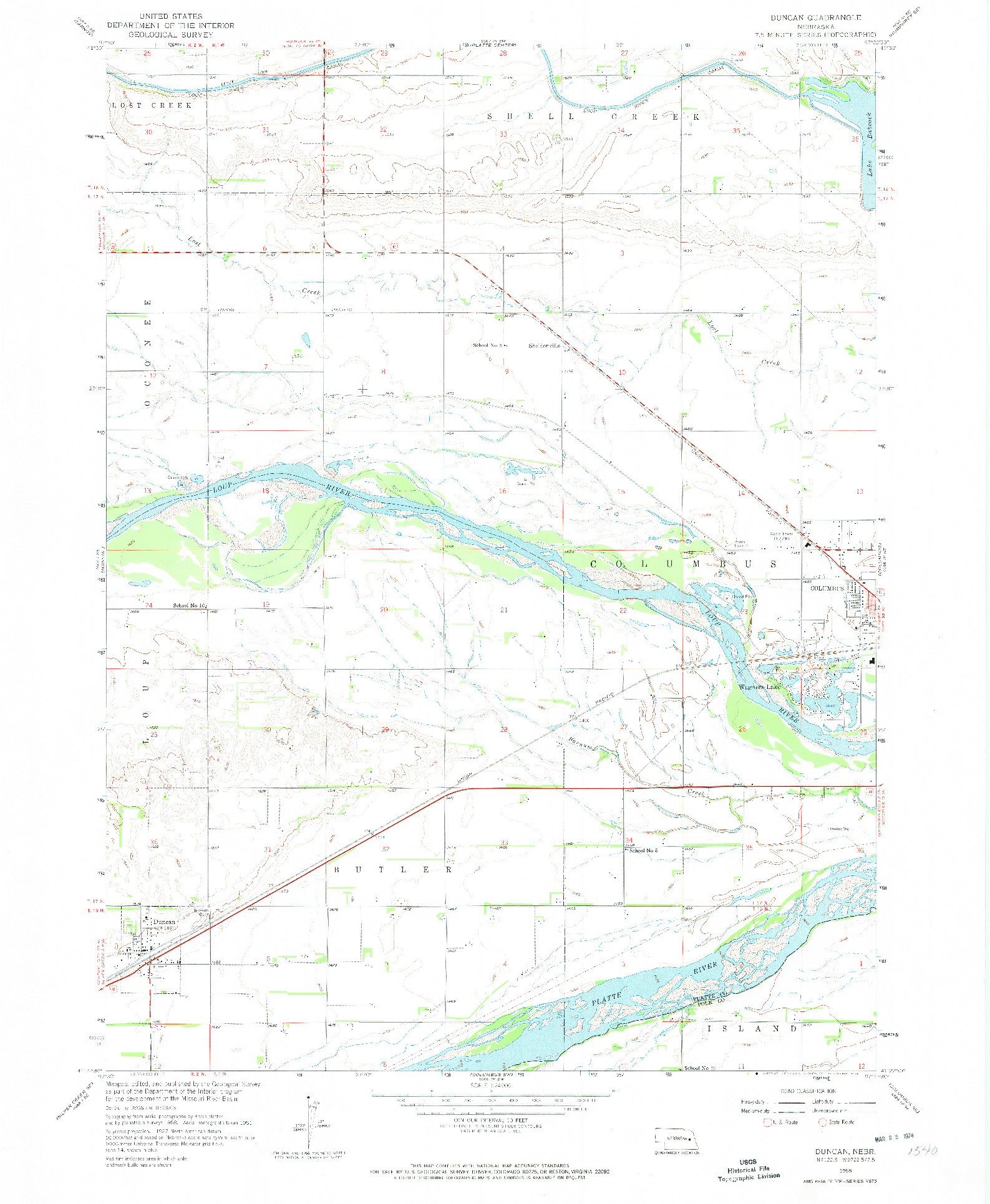 USGS 1:24000-SCALE QUADRANGLE FOR DUNCAN, NE 1958