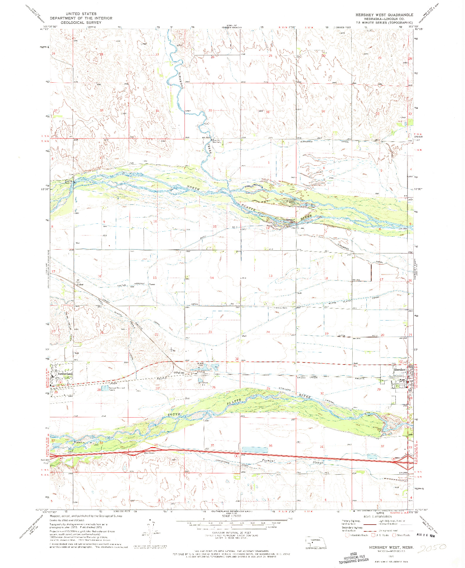 USGS 1:24000-SCALE QUADRANGLE FOR HERSHEY WEST, NE 1971