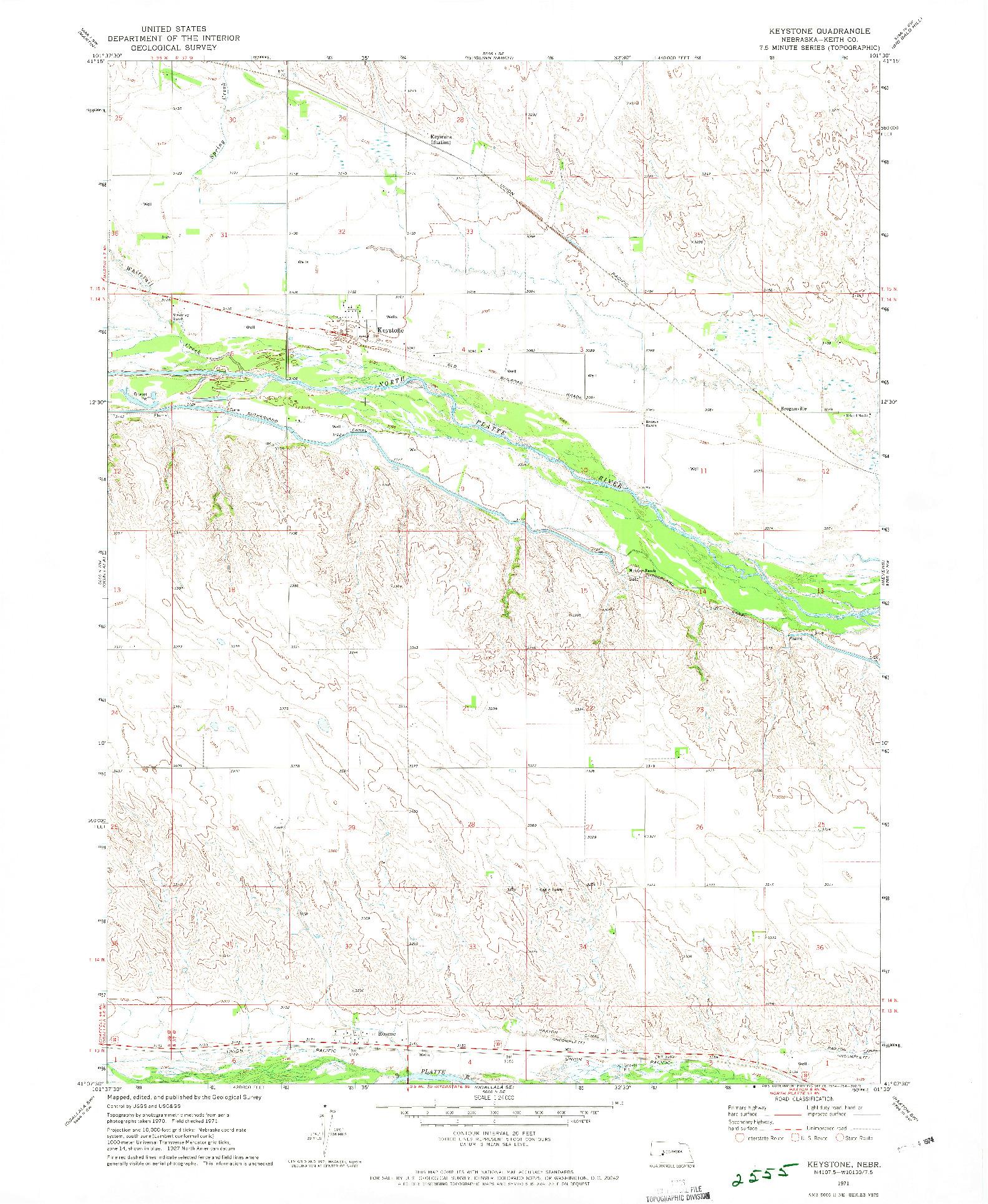 USGS 1:24000-SCALE QUADRANGLE FOR KEYSTONE, NE 1971