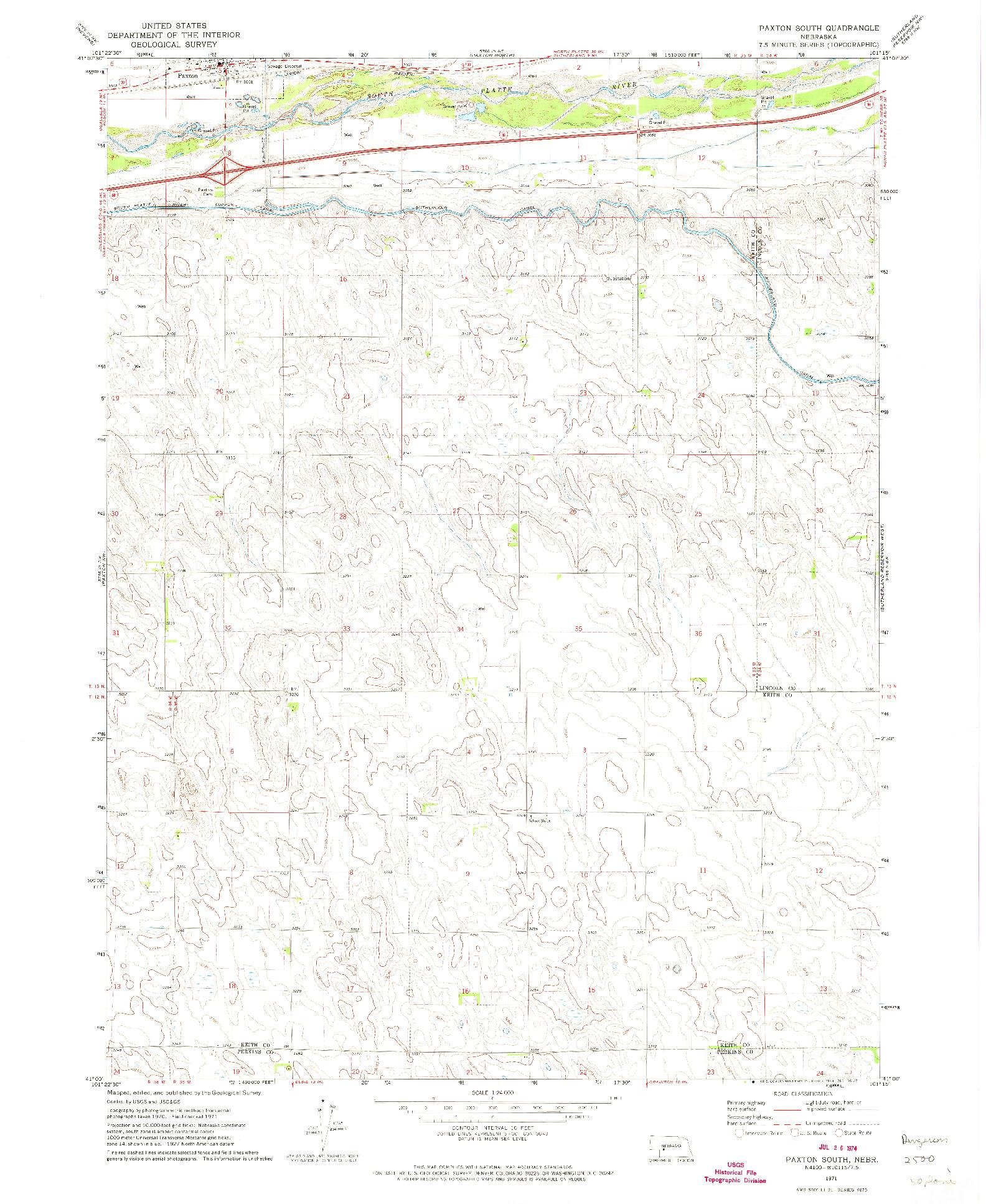 USGS 1:24000-SCALE QUADRANGLE FOR PAXTON SOUTH, NE 1971